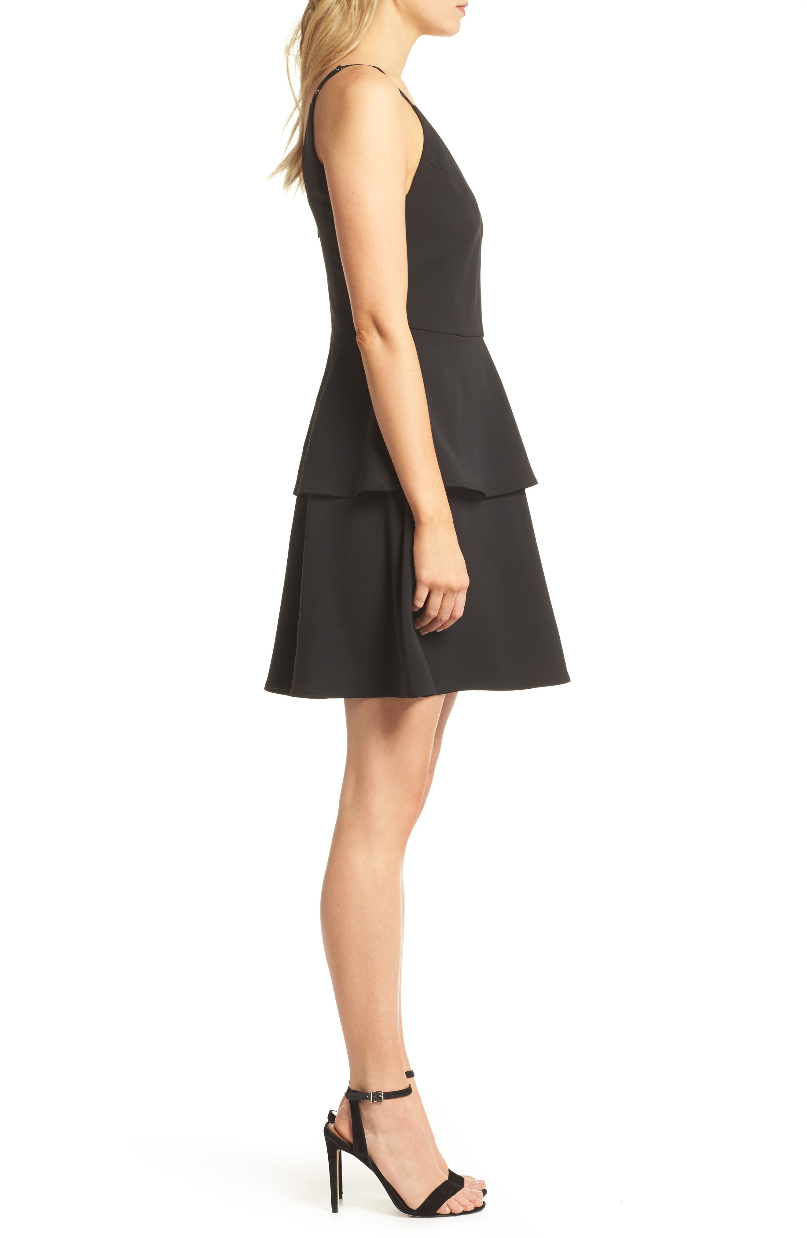 Tamika Sleeveless Fit & Flare Dress,                             Alternate thumbnail 3, color,                             Black