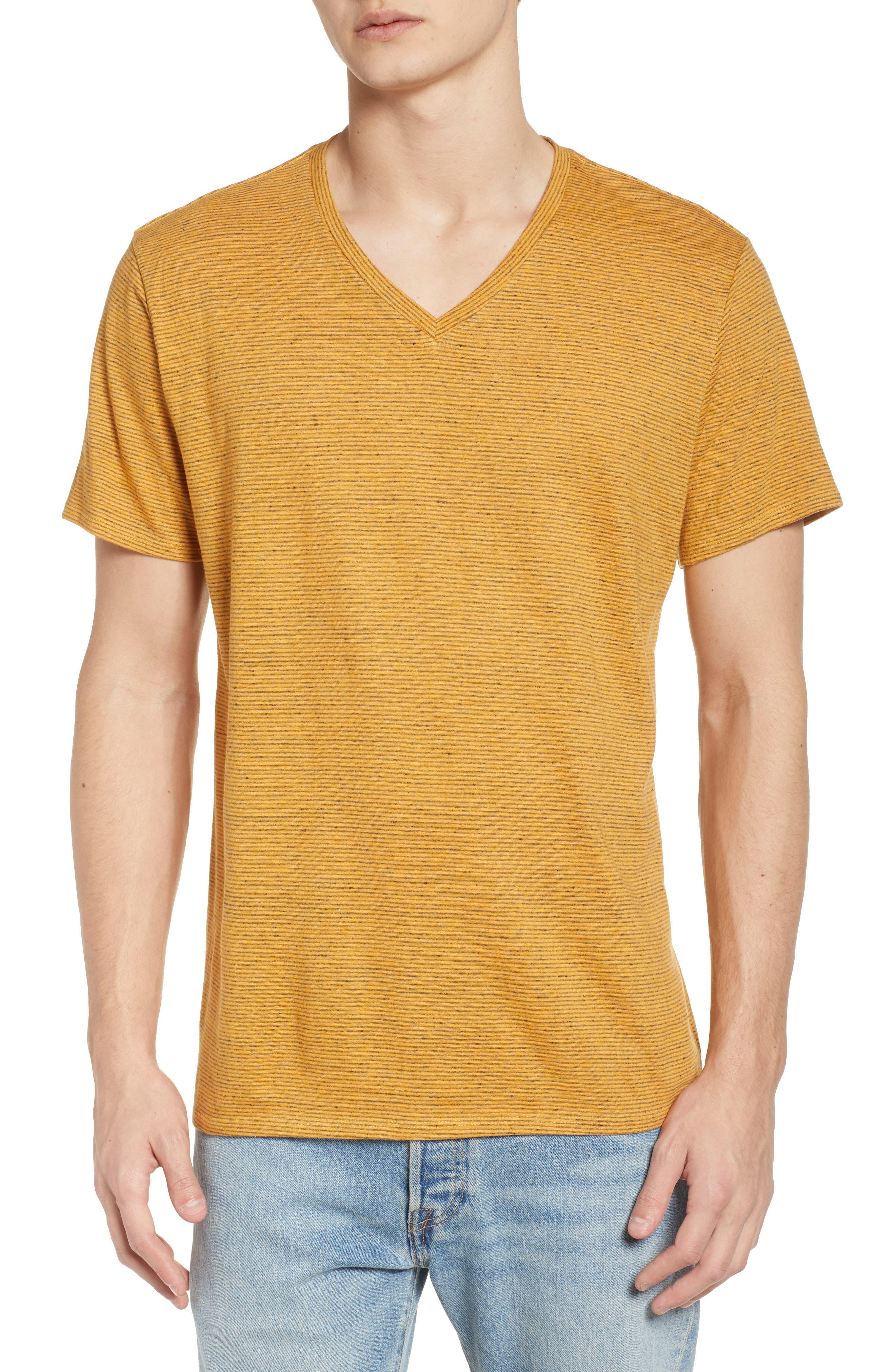 Fine Stripe V-Neck T-Shirt,                             Main thumbnail 1, color,                             Orange Lantana Heather Stripe
