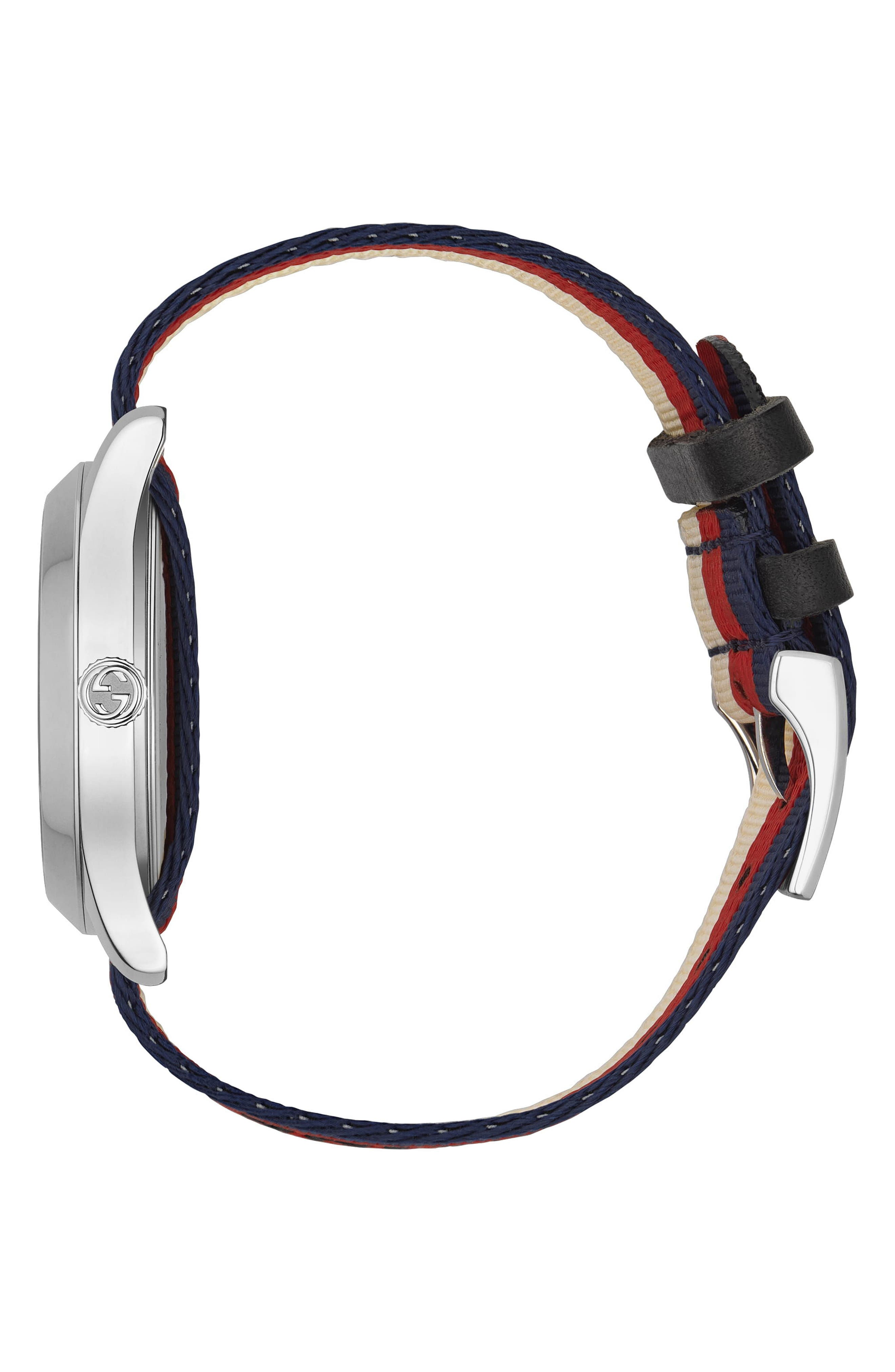 G-Timeless Nylon Strap Watch, 38mm,                             Alternate thumbnail 3, color,                             Cream/ Red/ Blue/ Silver