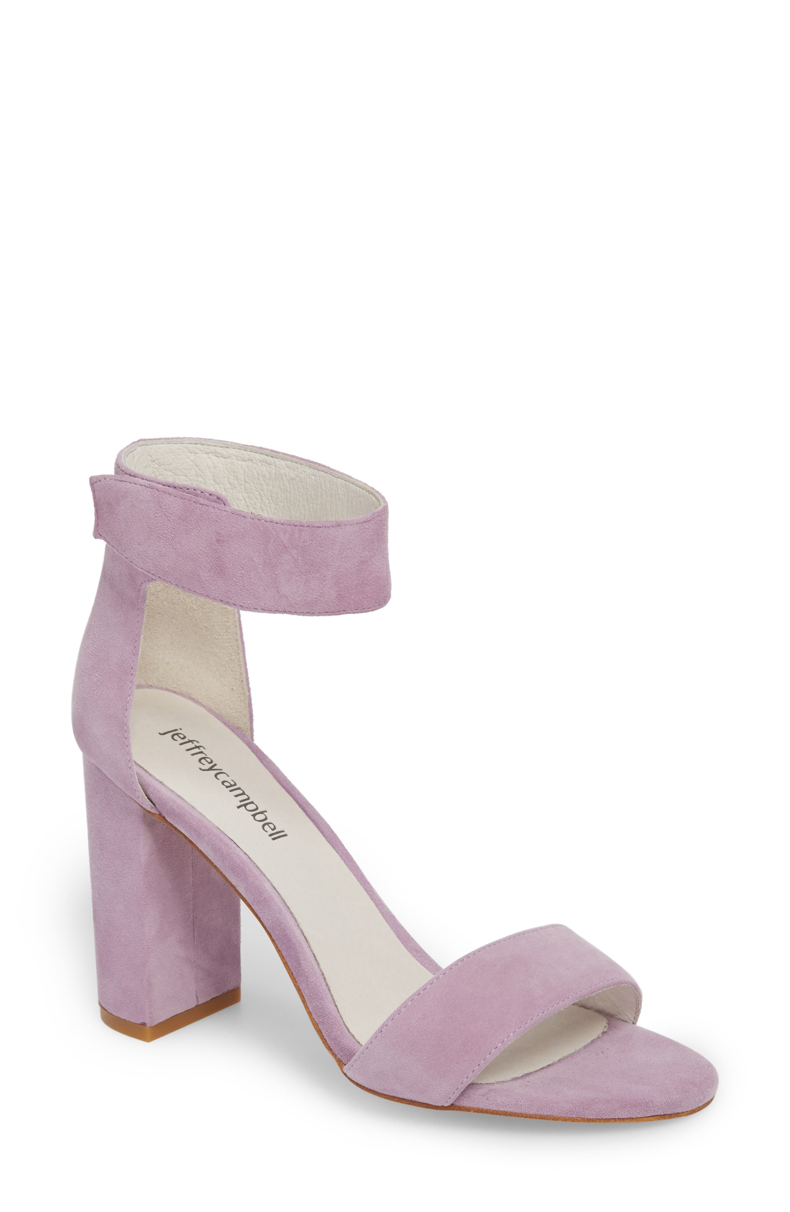 Jeffrey Campbell 'Lindsay' Ankle Strap Sandal (Women). BLACK SUEDE; LILAC  SUEDE; SILVER; TAUPE SUEDE