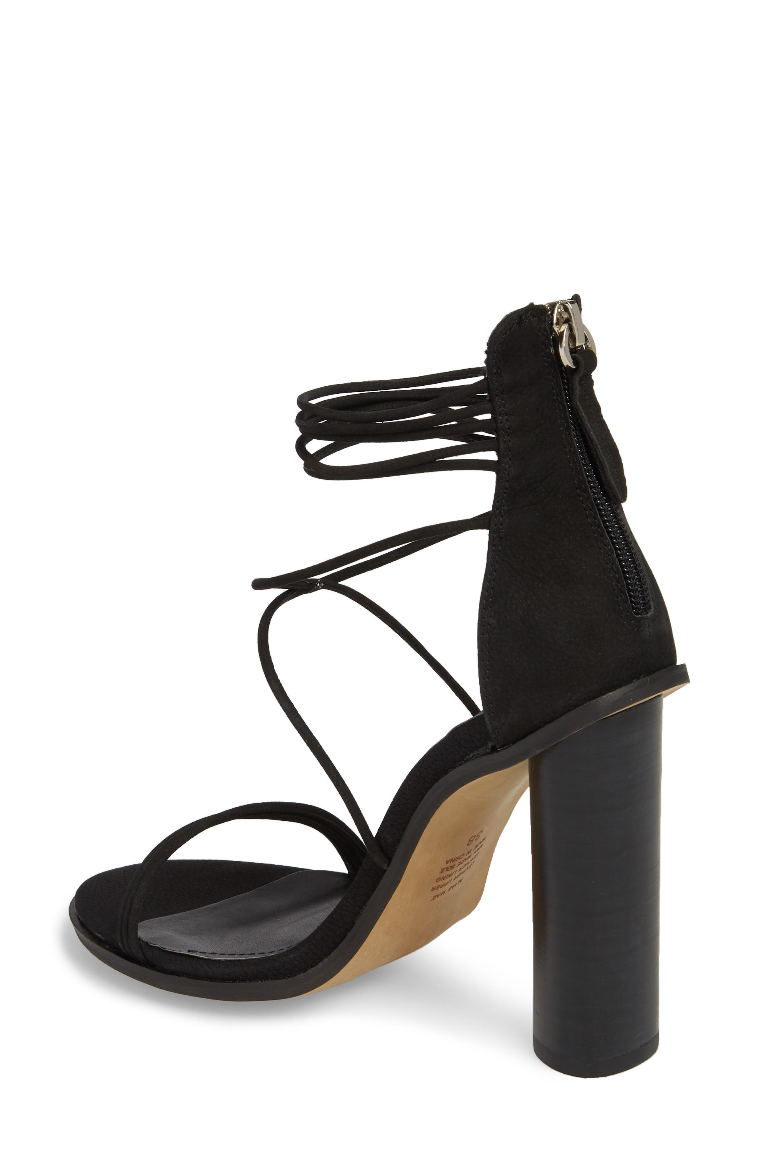 Aflux Tall Strappy Sandal,                             Alternate thumbnail 2, color,                             Black Nubuck Leather