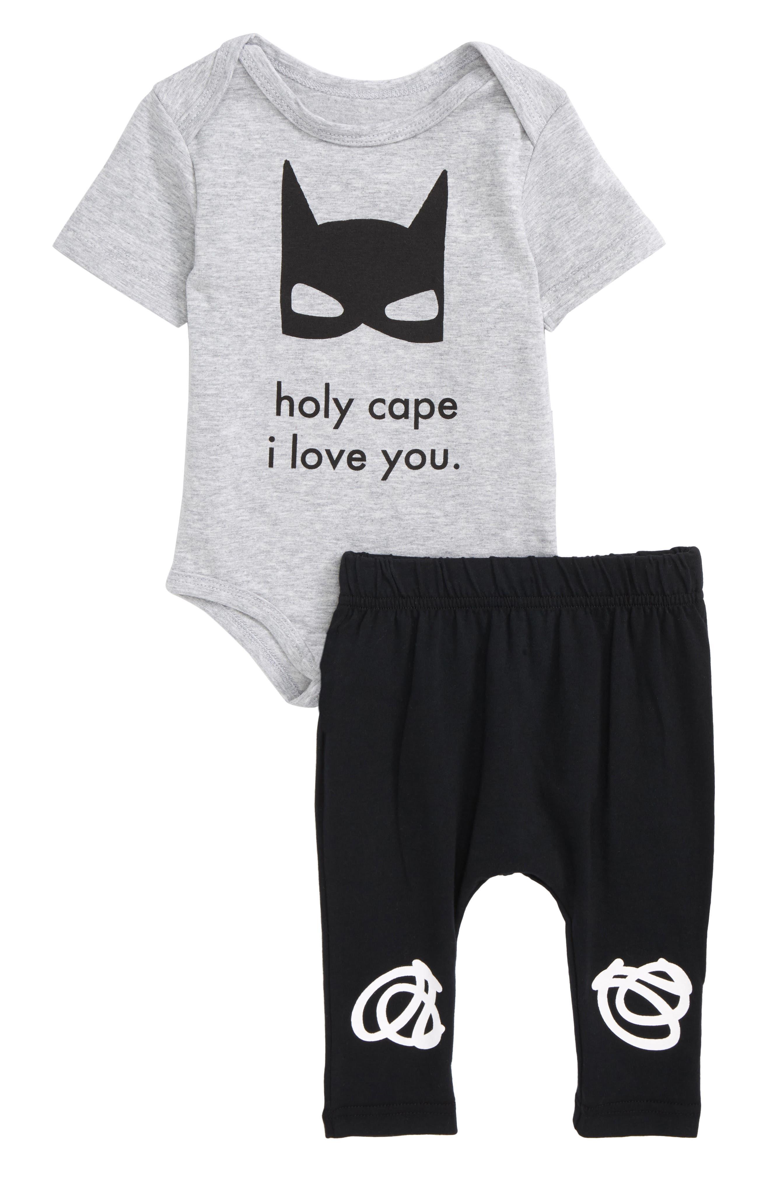 Holy Cape I Love You Bodysuit & Pants Set,                         Main,                         color, Grey/ Black