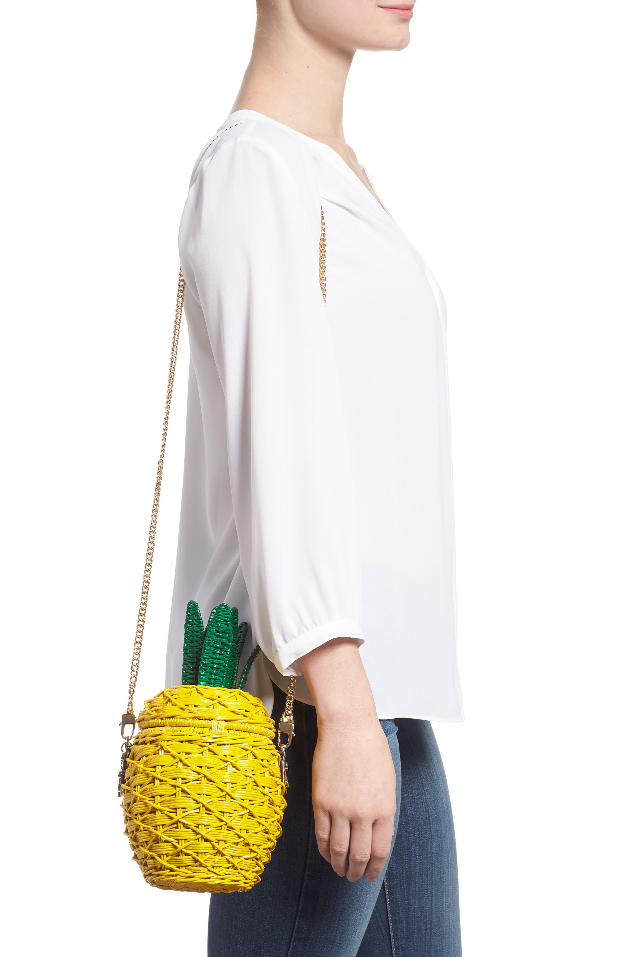 MICHAEL Michael Kors Wicker Pineapple Shoulder Bag,                             Alternate thumbnail 2, color,                             Sunflower