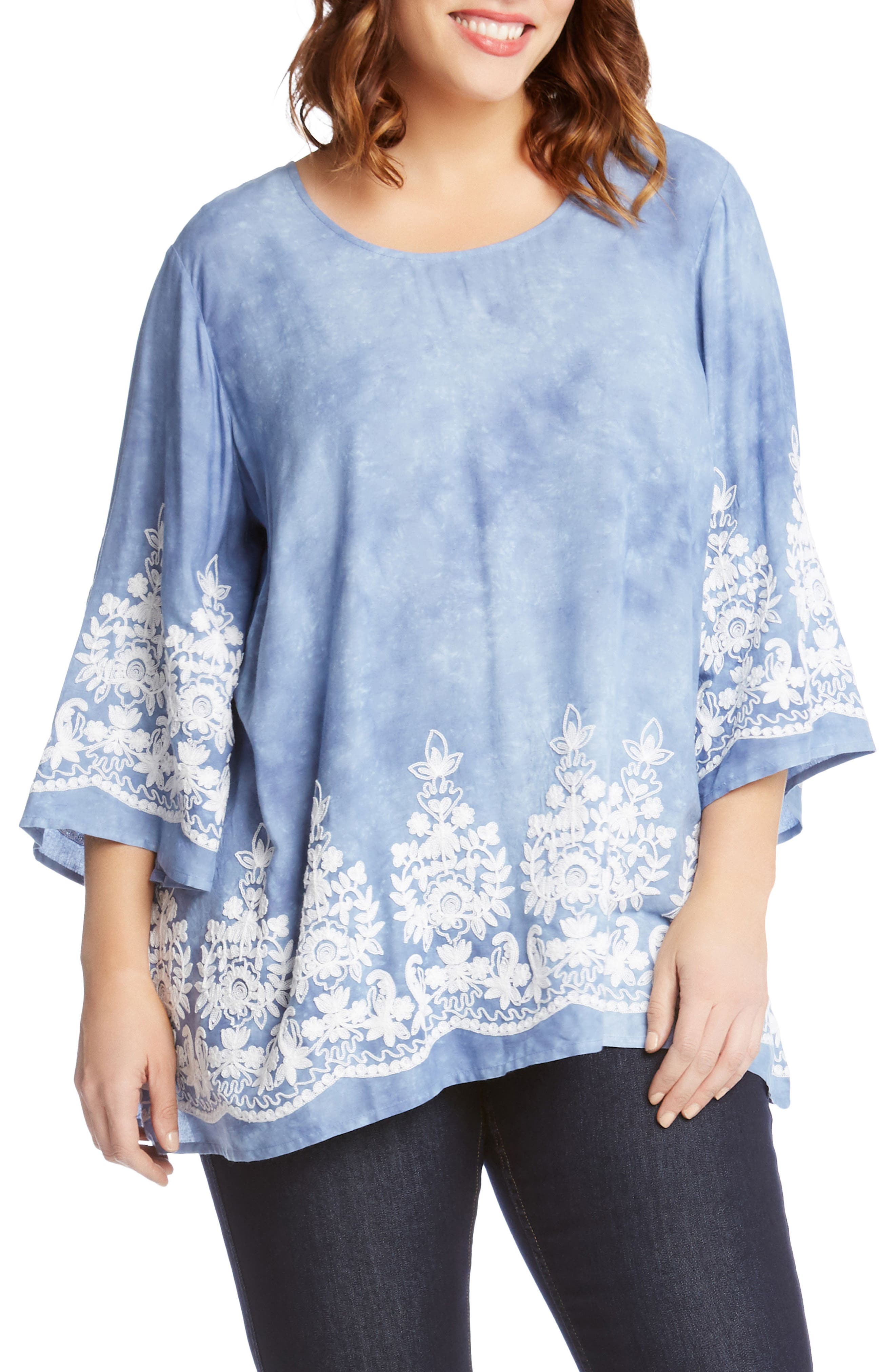 Embroidered Tie Dye Top,                         Main,                         color, Tie Dye