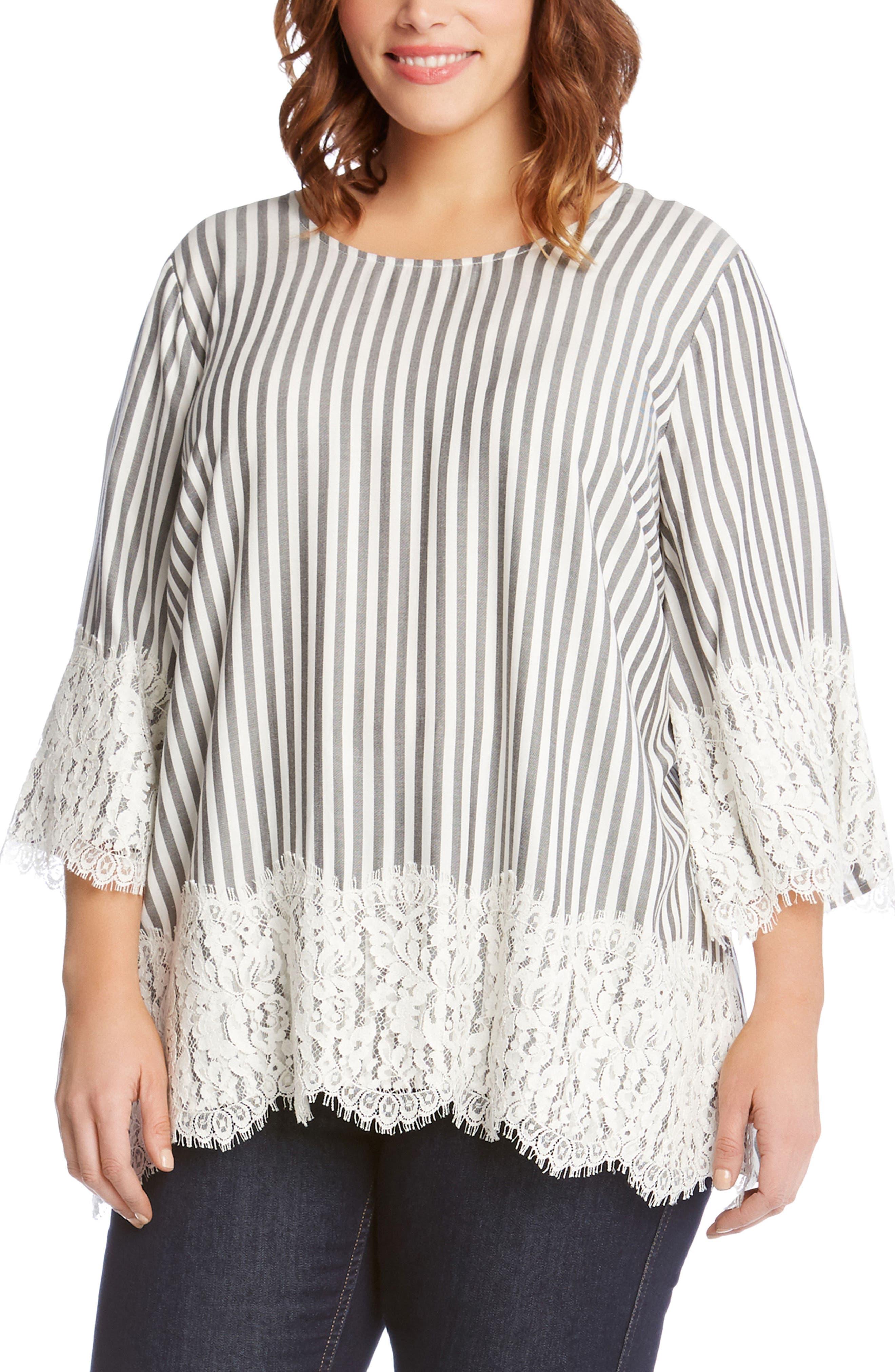 Karen Kane Lace Hem Stripe Top (Plus Size)