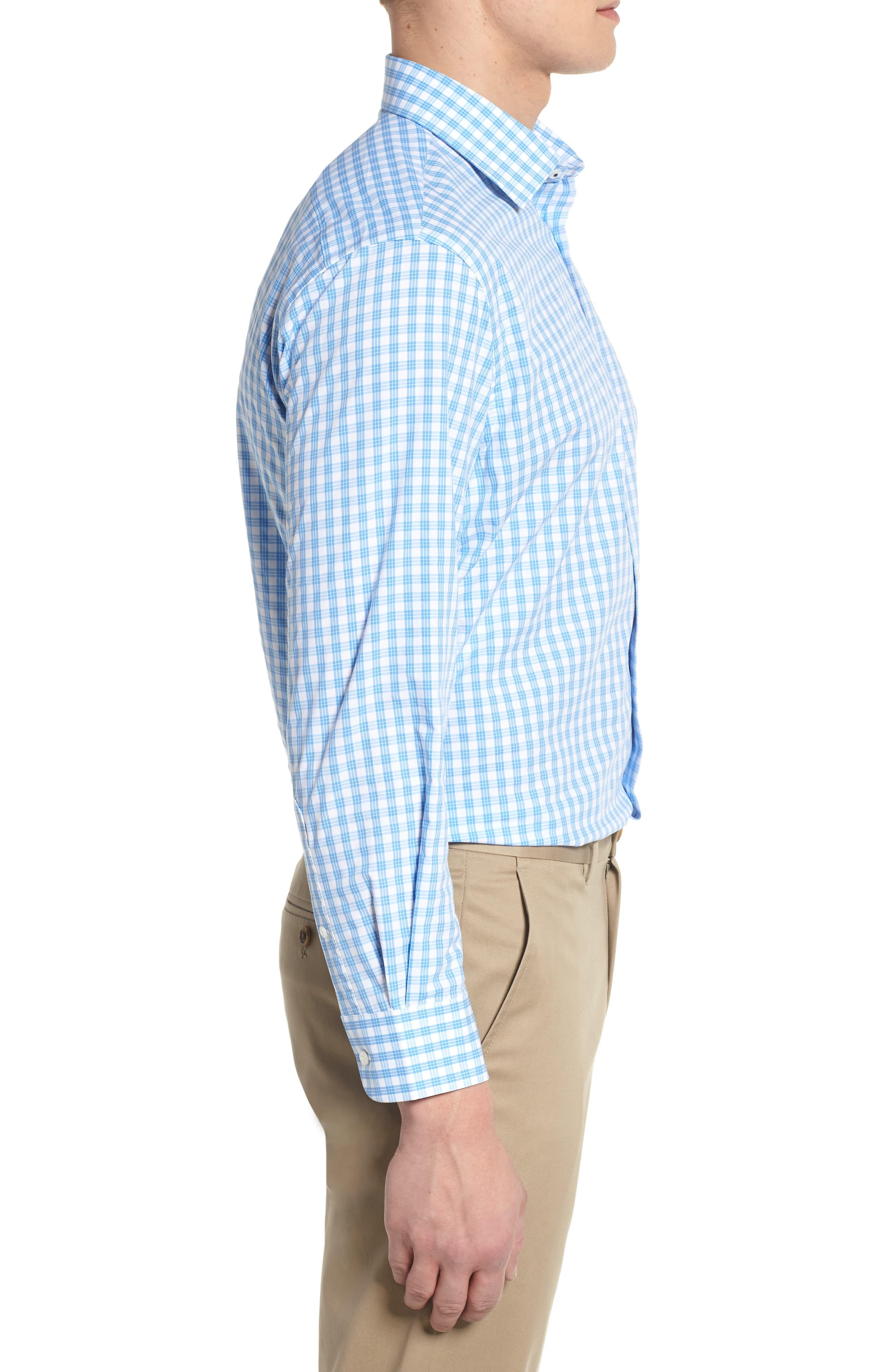 Tech Smart Traditional Fit Stretch Check Dress Shirt,                             Alternate thumbnail 3, color,                             Blue Lake