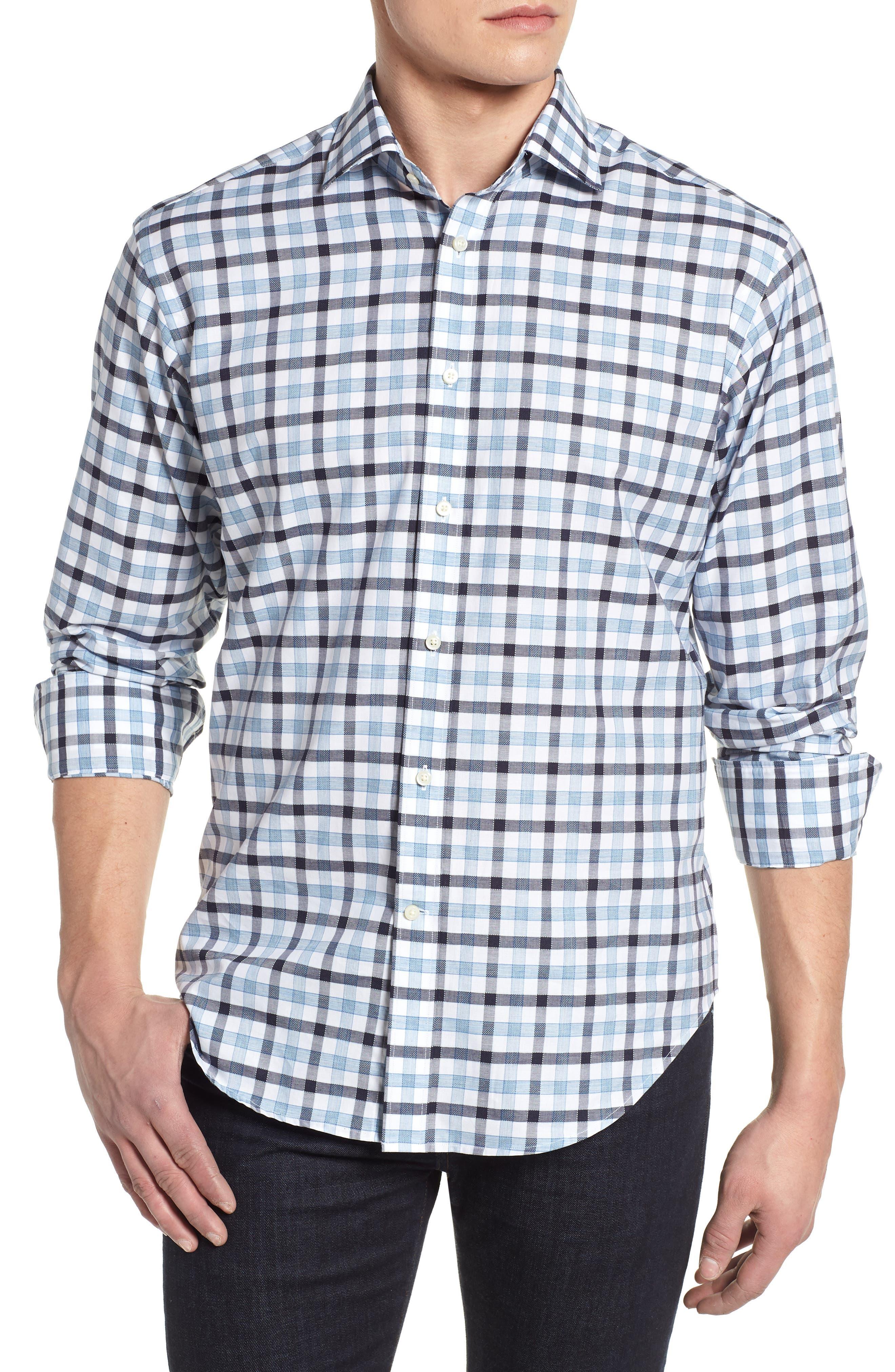 Check Sport Shirt,                         Main,                         color, Blue