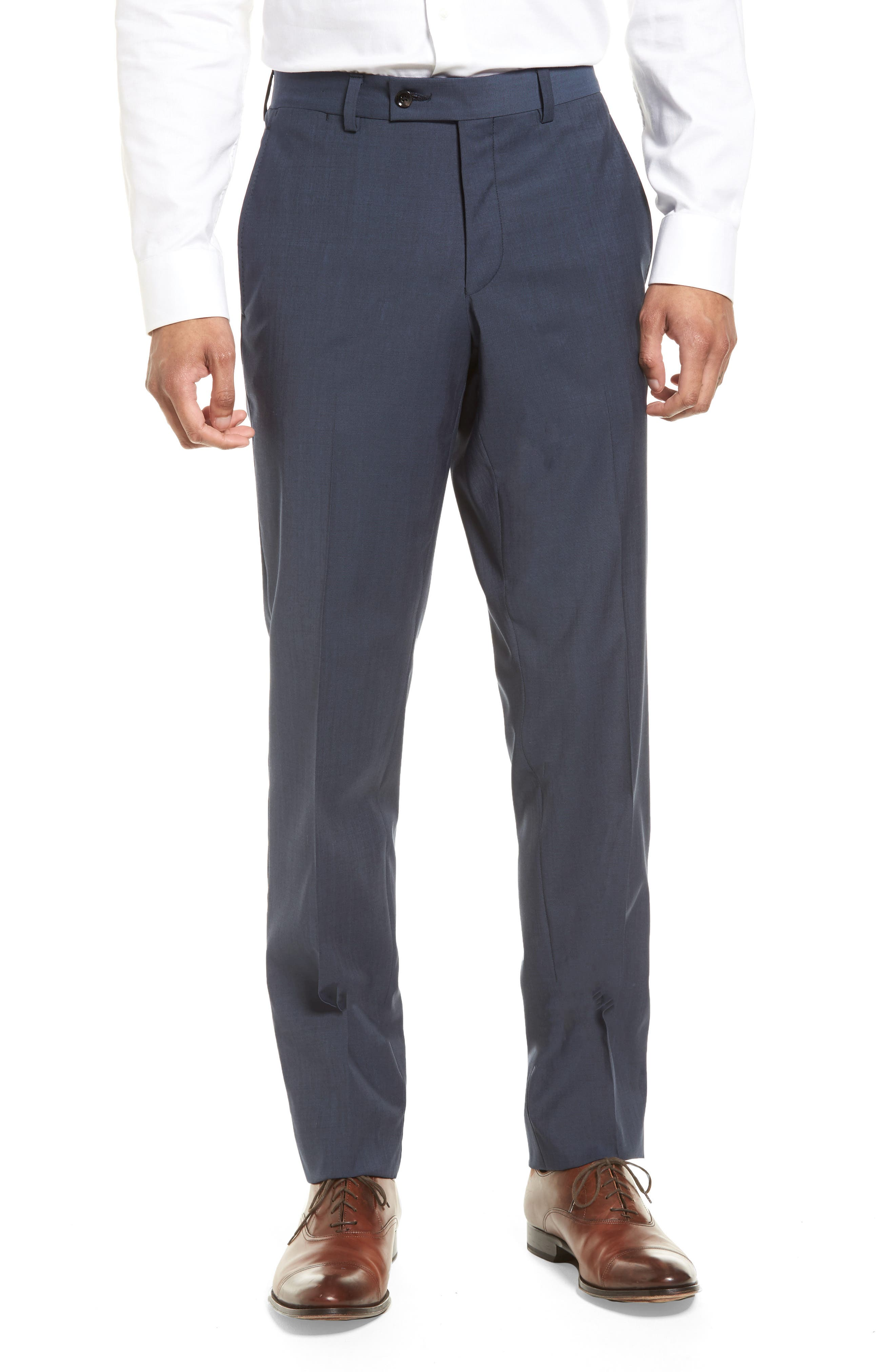Jefferson Flat Front Stretch Wool Trousers,                             Main thumbnail 1, color,                             Blue