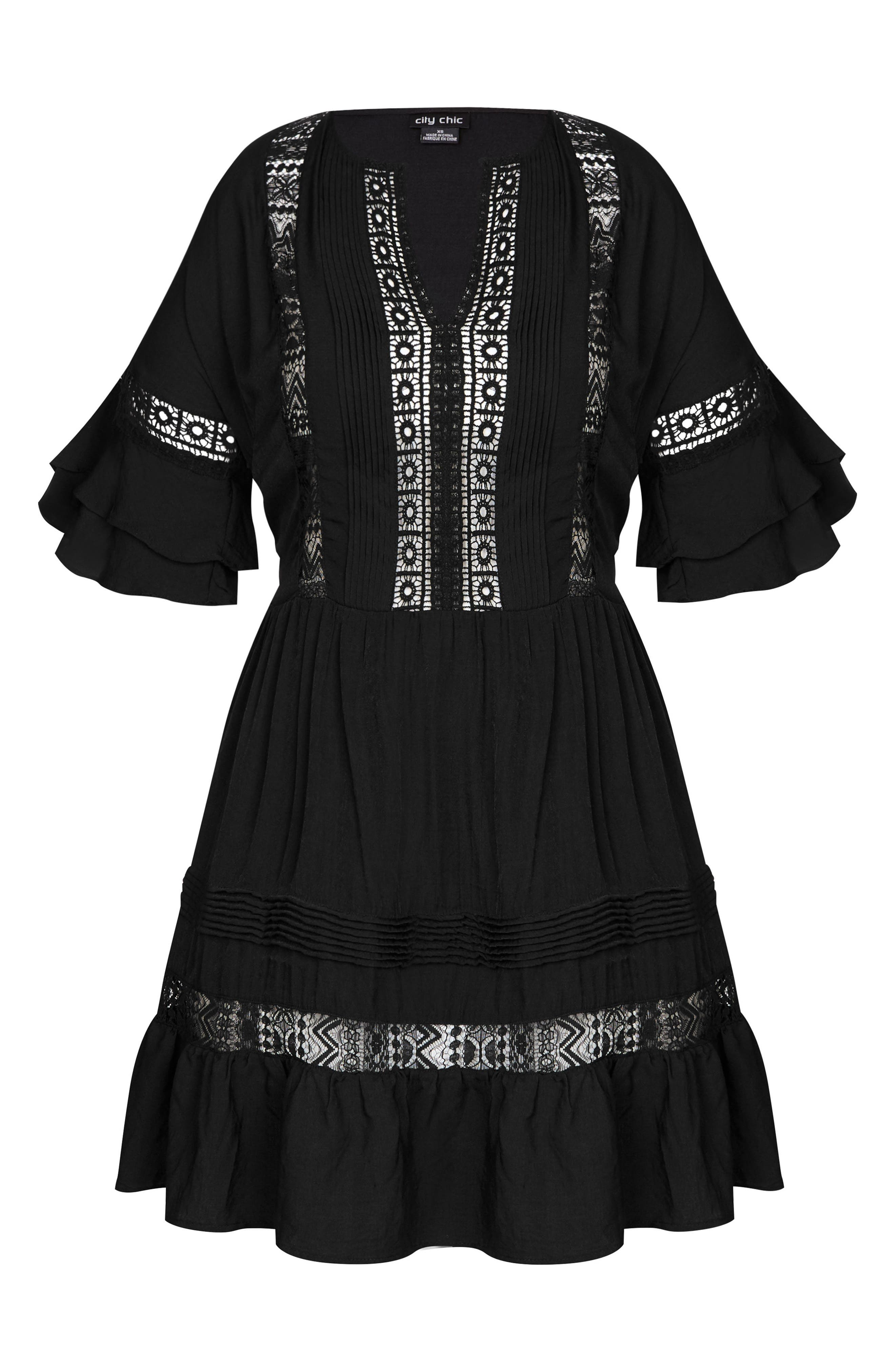 Evie Lace Trim Cover-Up Dress,                             Alternate thumbnail 3, color,                             Black