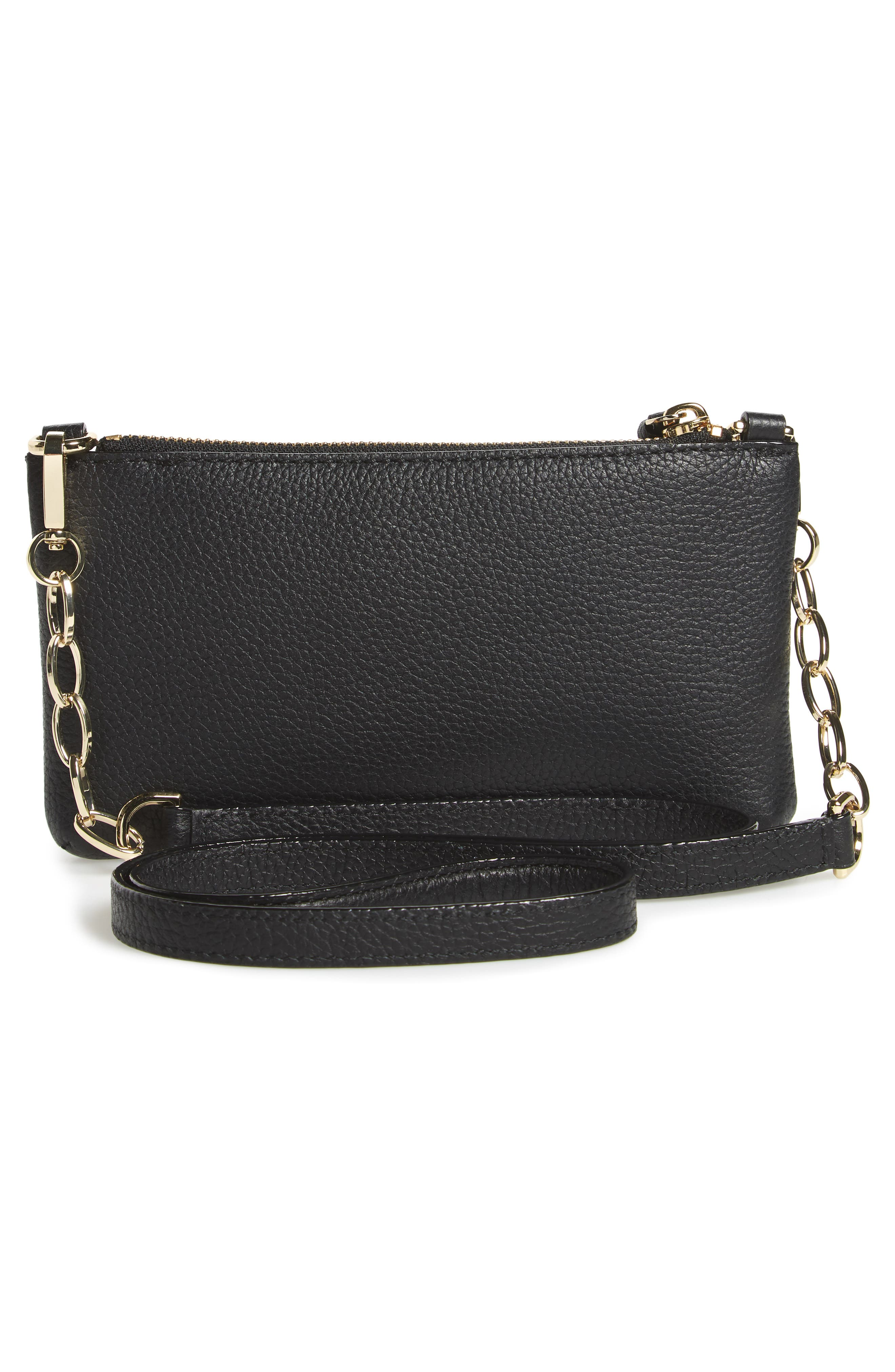 jackson street – dolores leather crossbody bag,                             Alternate thumbnail 3, color,                             Black