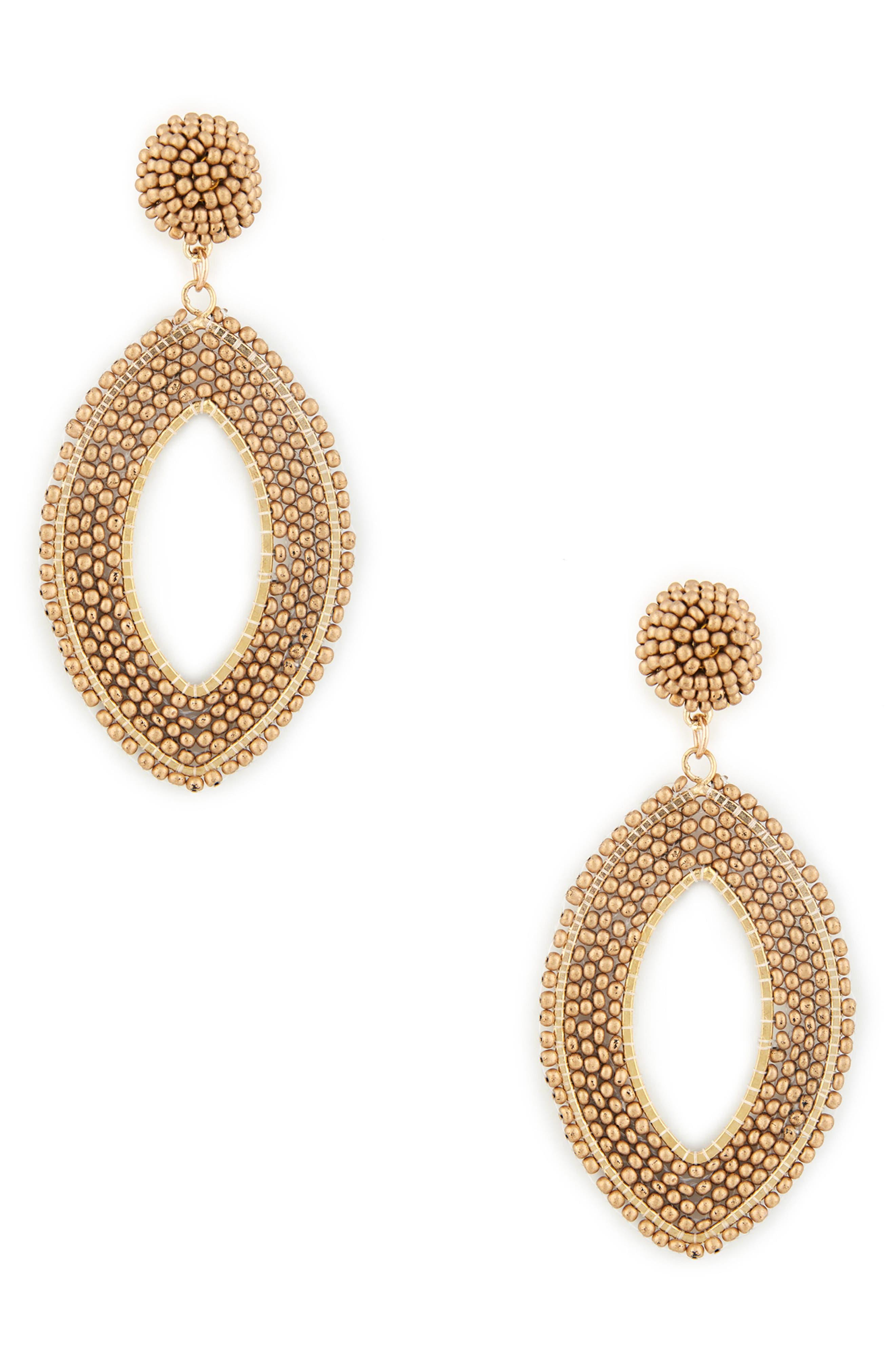 Beaded Tier Drop Earrings,                         Main,                         color, Bronze