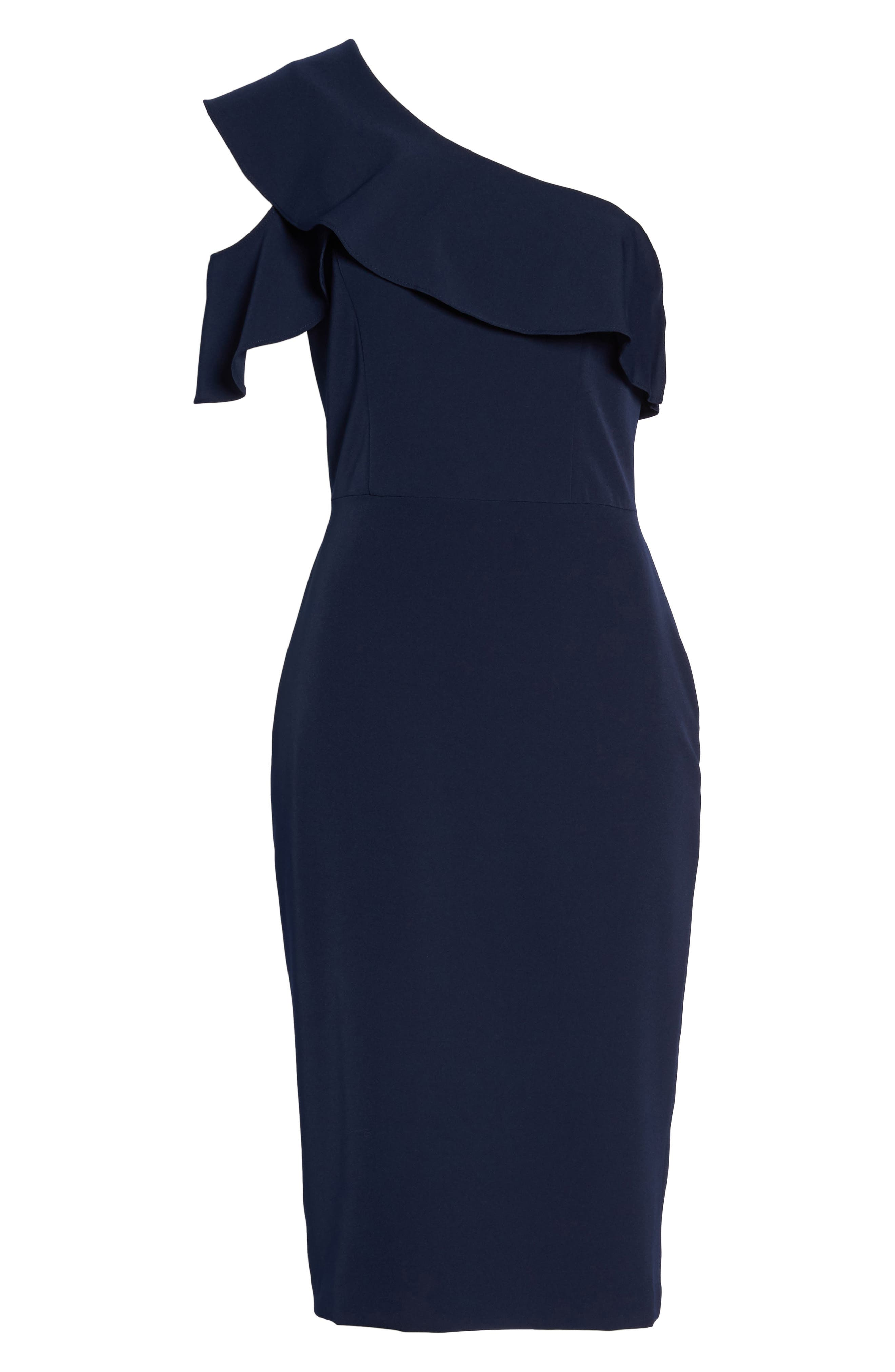 Dream One-Shoulder Crepe Ruffle Dress,                             Alternate thumbnail 7, color,                             Navy