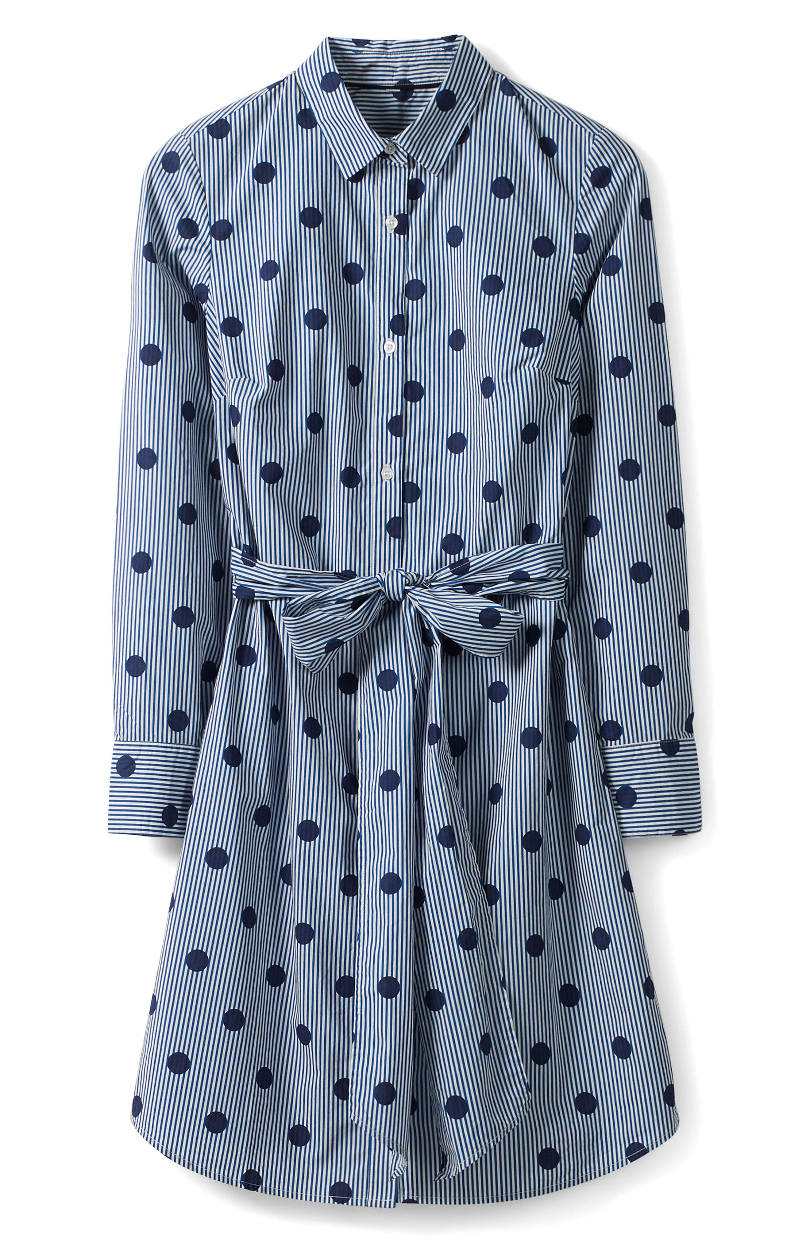 Trend Stripe Dot Cotton Shirtdress,                             Alternate thumbnail 7, color,                             Navy Spot On Stripe