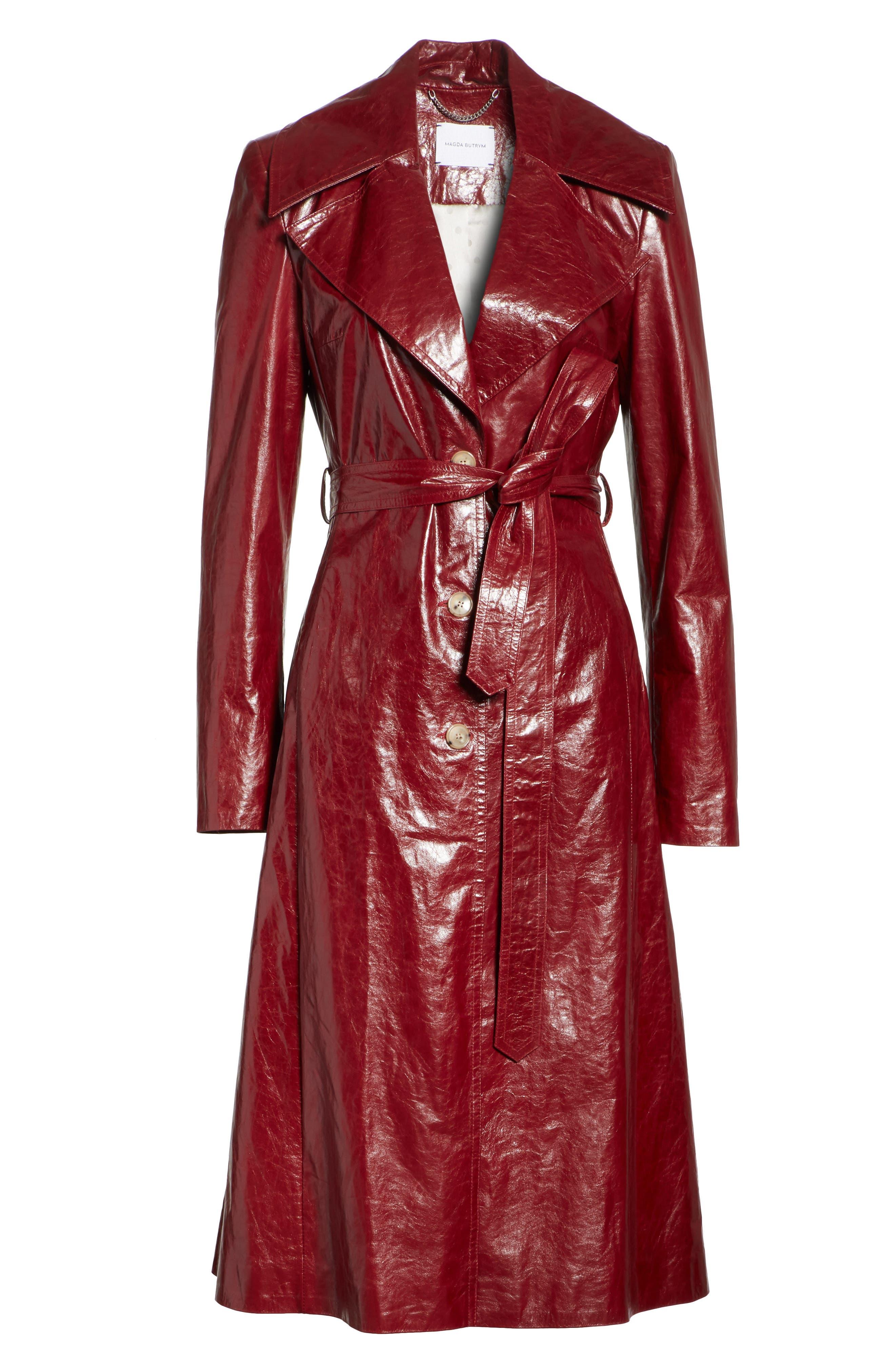 Leather Trench Coat,                             Alternate thumbnail 6, color,                             Bordeaux