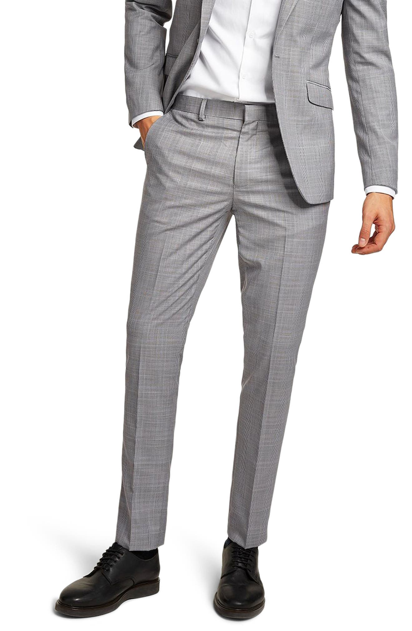 Skinny Fit Check Suit Trousers,                             Main thumbnail 1, color,                             Grey Multi