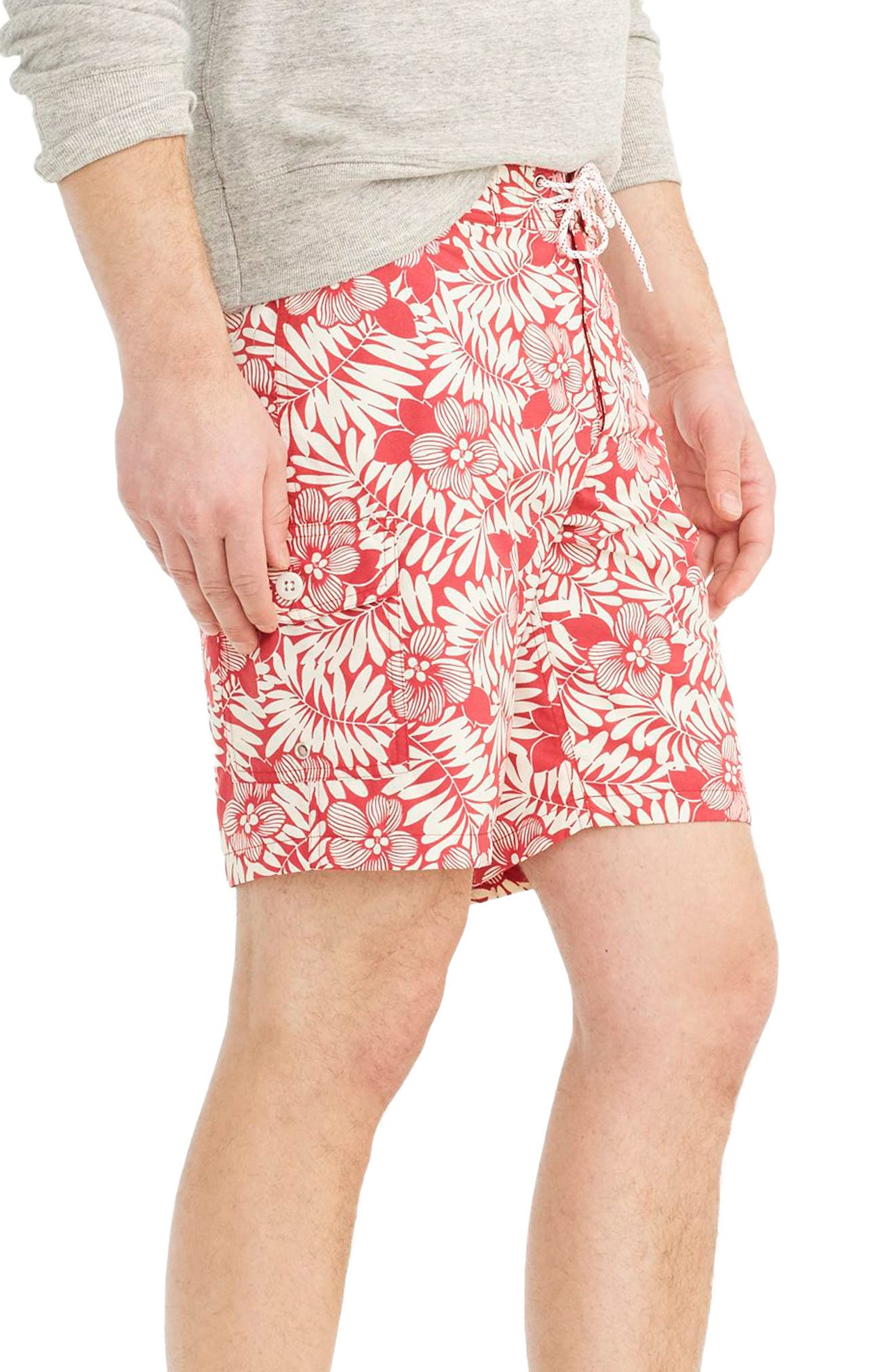 Fern Print Board Shorts,                             Alternate thumbnail 2, color,                             Red Ivory