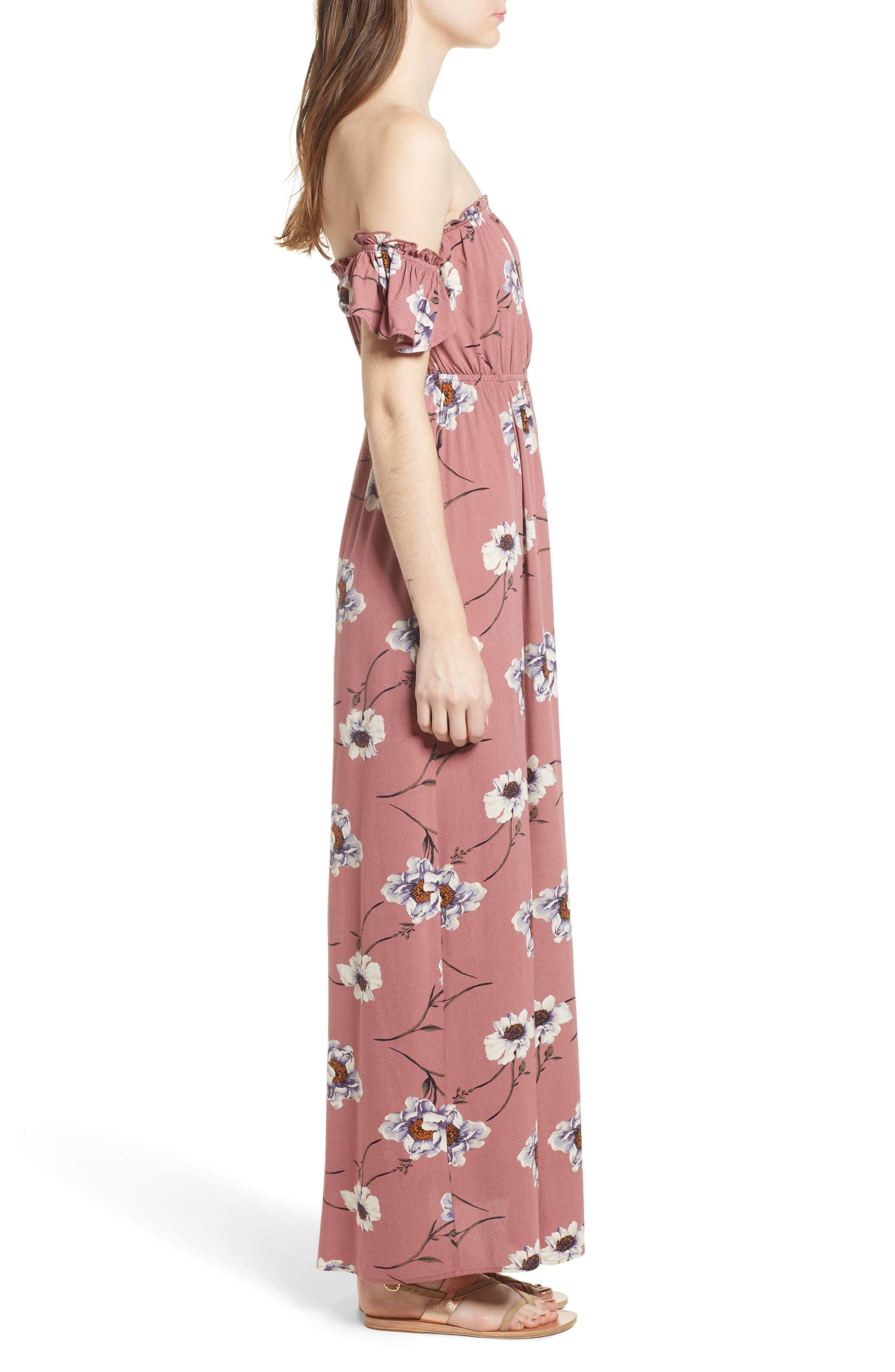 Off the Shoulder Maxi Dress,                             Alternate thumbnail 3, color,                             Mauve Floral