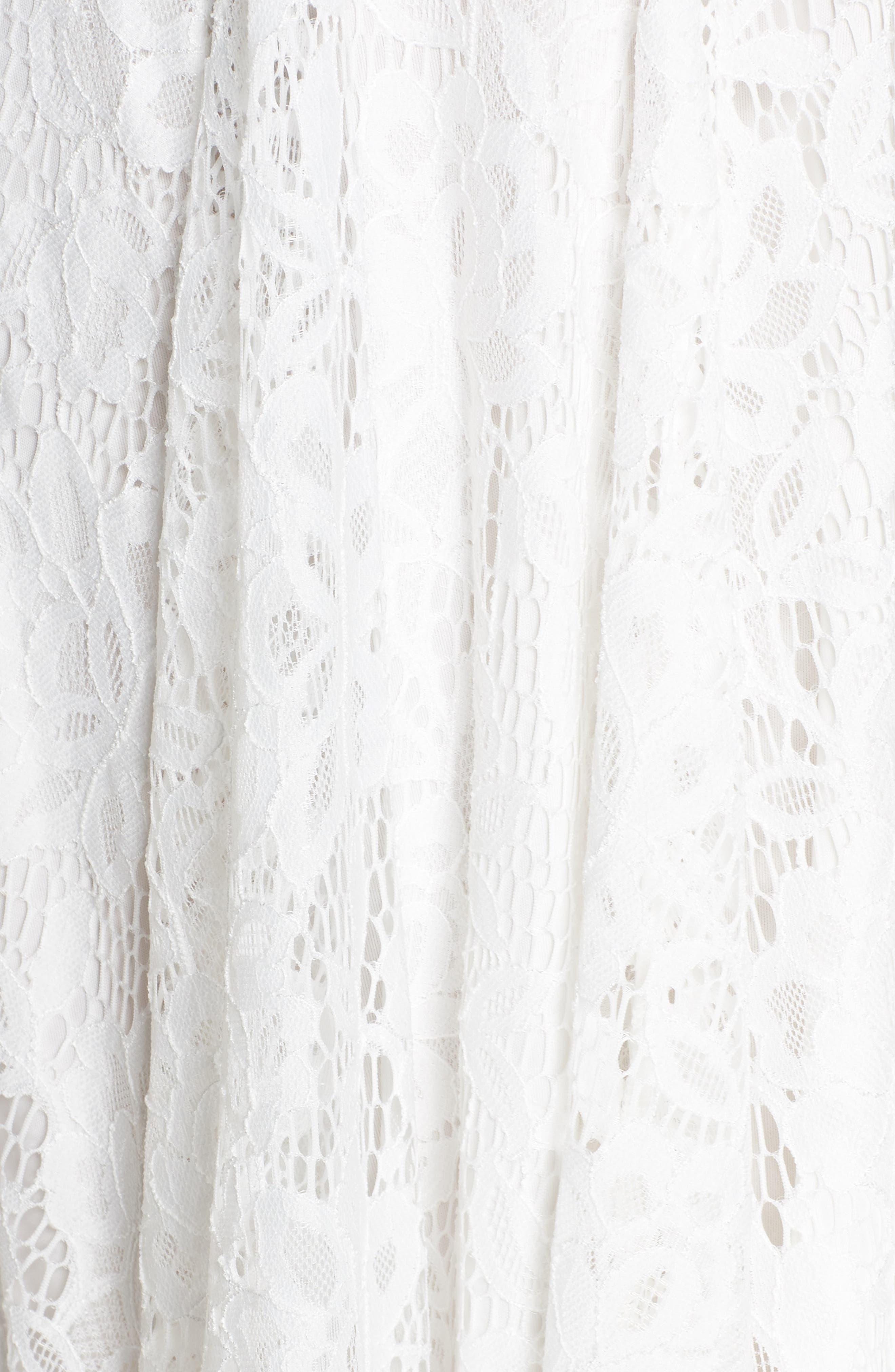 Lace Midi Dress,                             Alternate thumbnail 6, color,                             Ivory