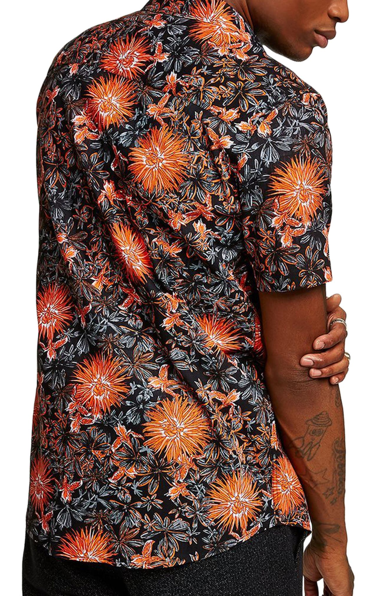 Floral Print Shirt,                             Alternate thumbnail 2, color,                             Orange Multi