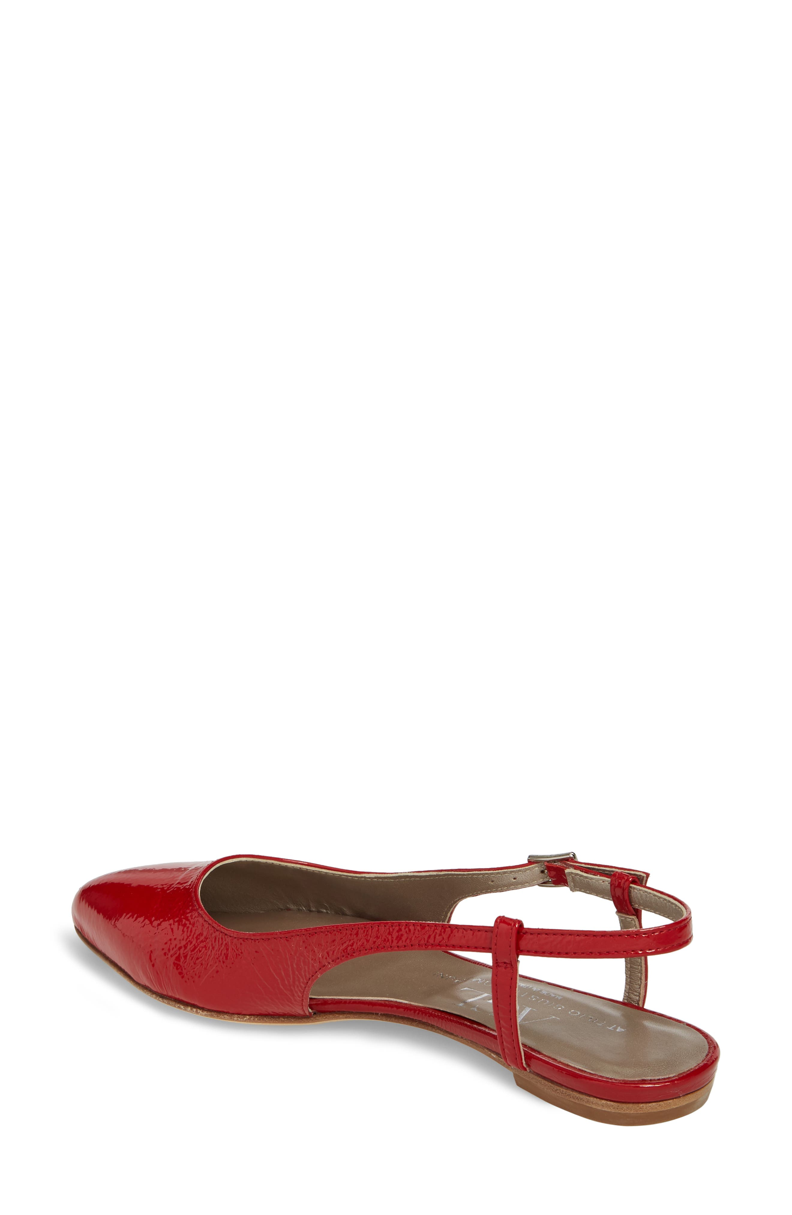 Slingback Flat,                             Alternate thumbnail 2, color,                             Red Glammy Leather