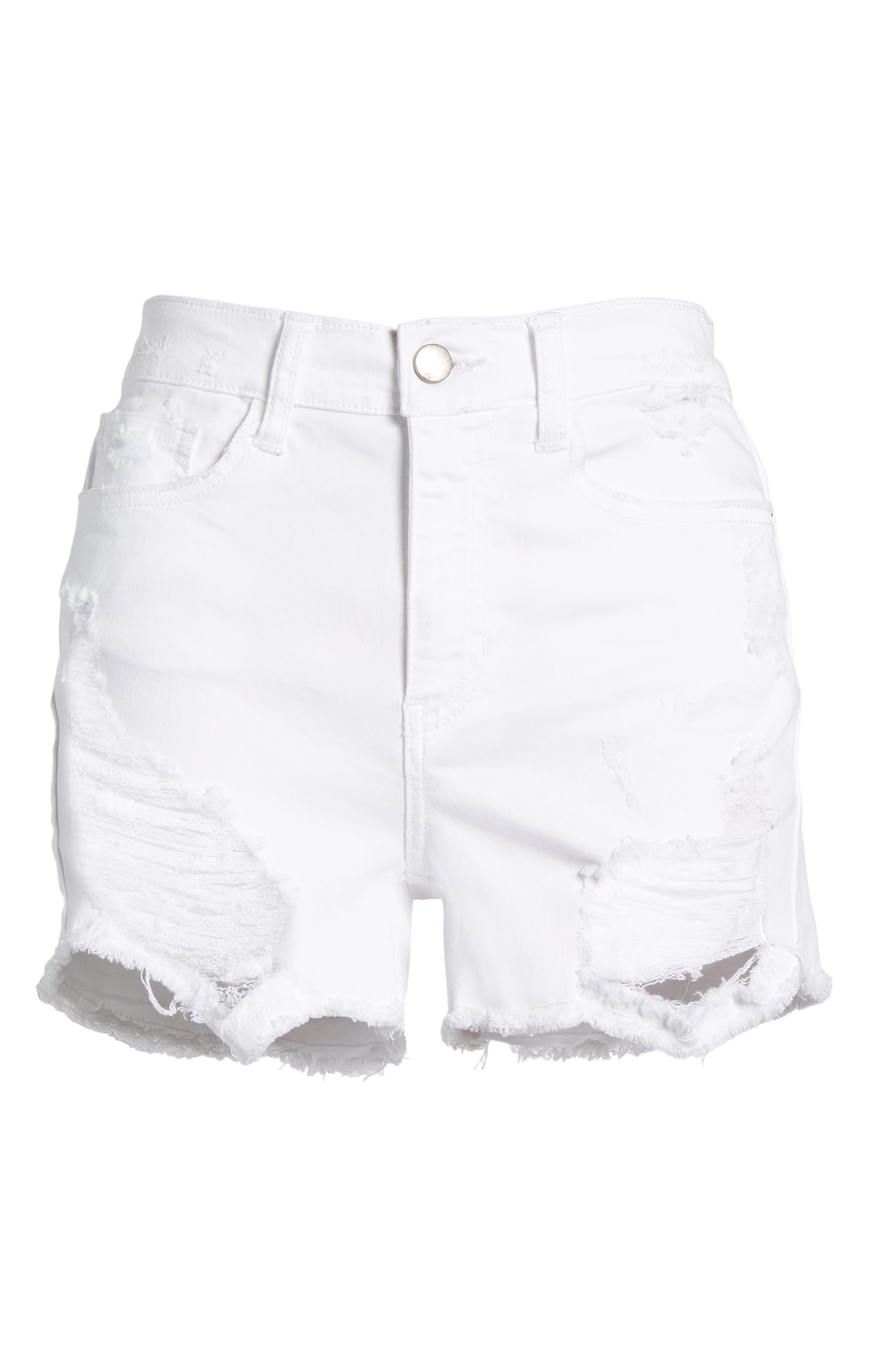 Ripped Cutoff Shorts,                             Alternate thumbnail 7, color,                             White