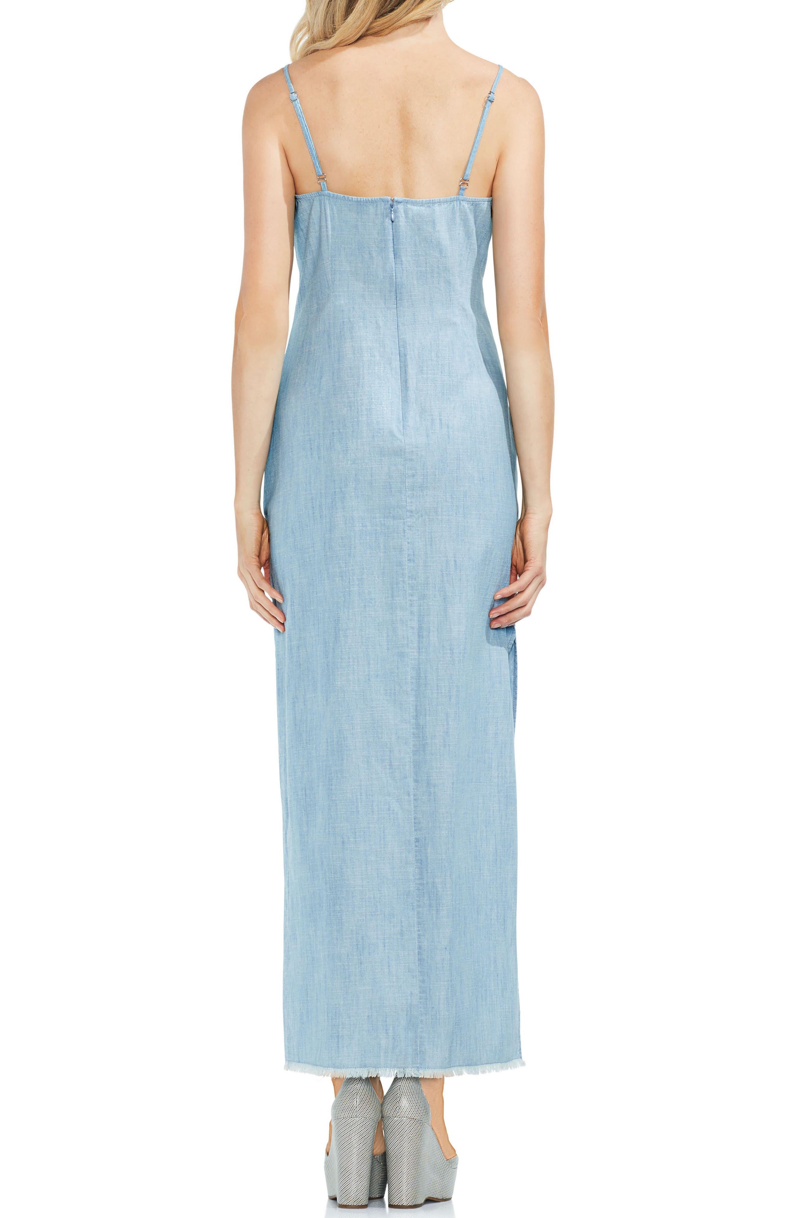 Chambray Maxi Slip Dress,                             Alternate thumbnail 2, color,                             Ice Lagoon