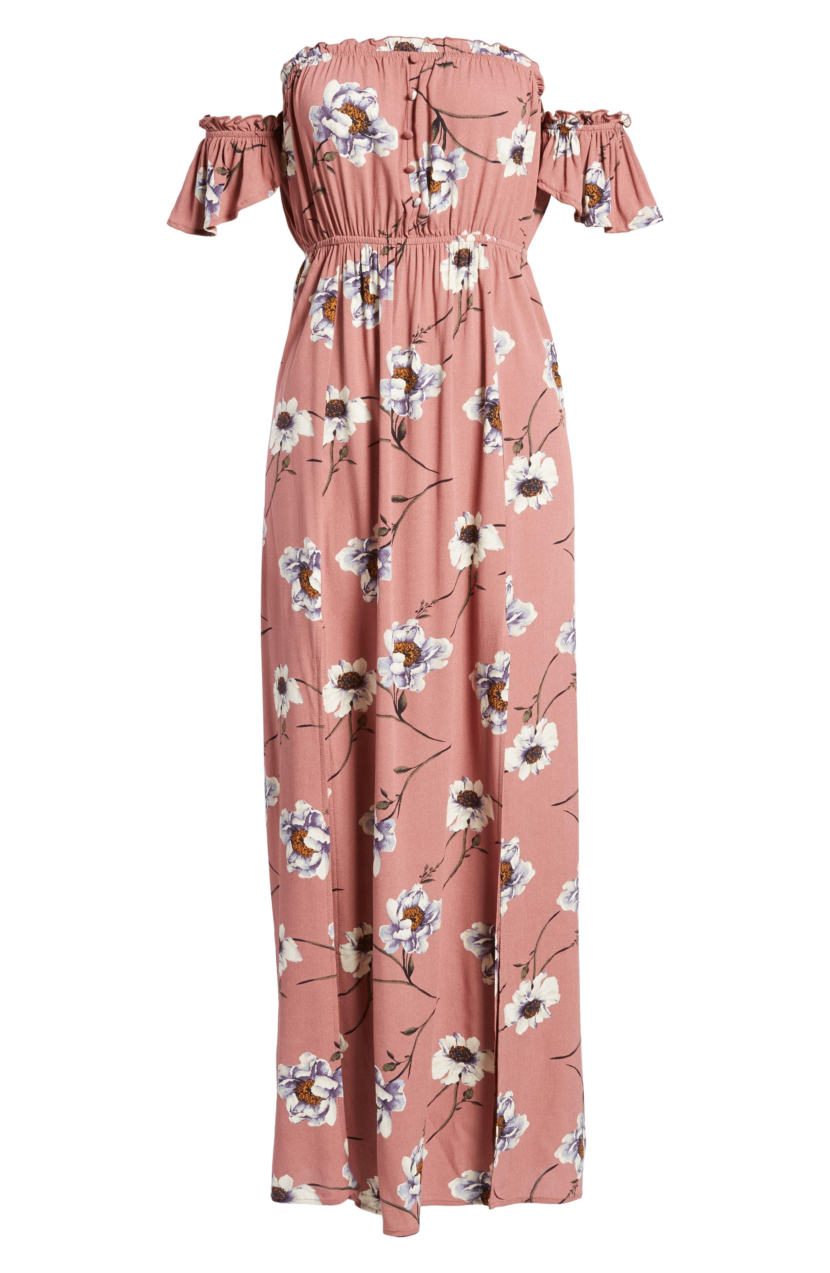 Off the Shoulder Maxi Dress,                             Alternate thumbnail 6, color,                             Mauve Floral