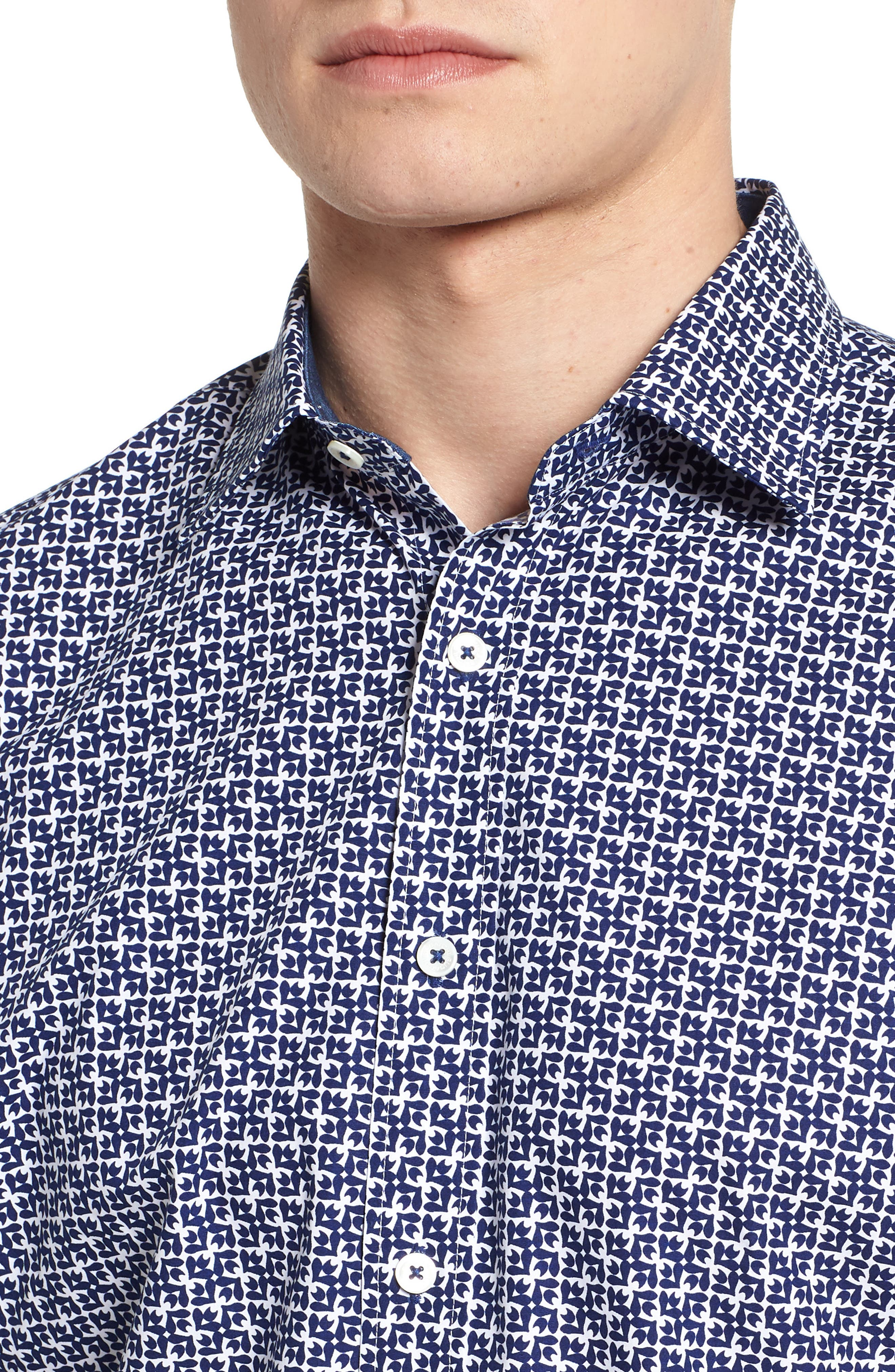 Classic Fit Woven Sport Shirt,                             Alternate thumbnail 4, color,                             Navy