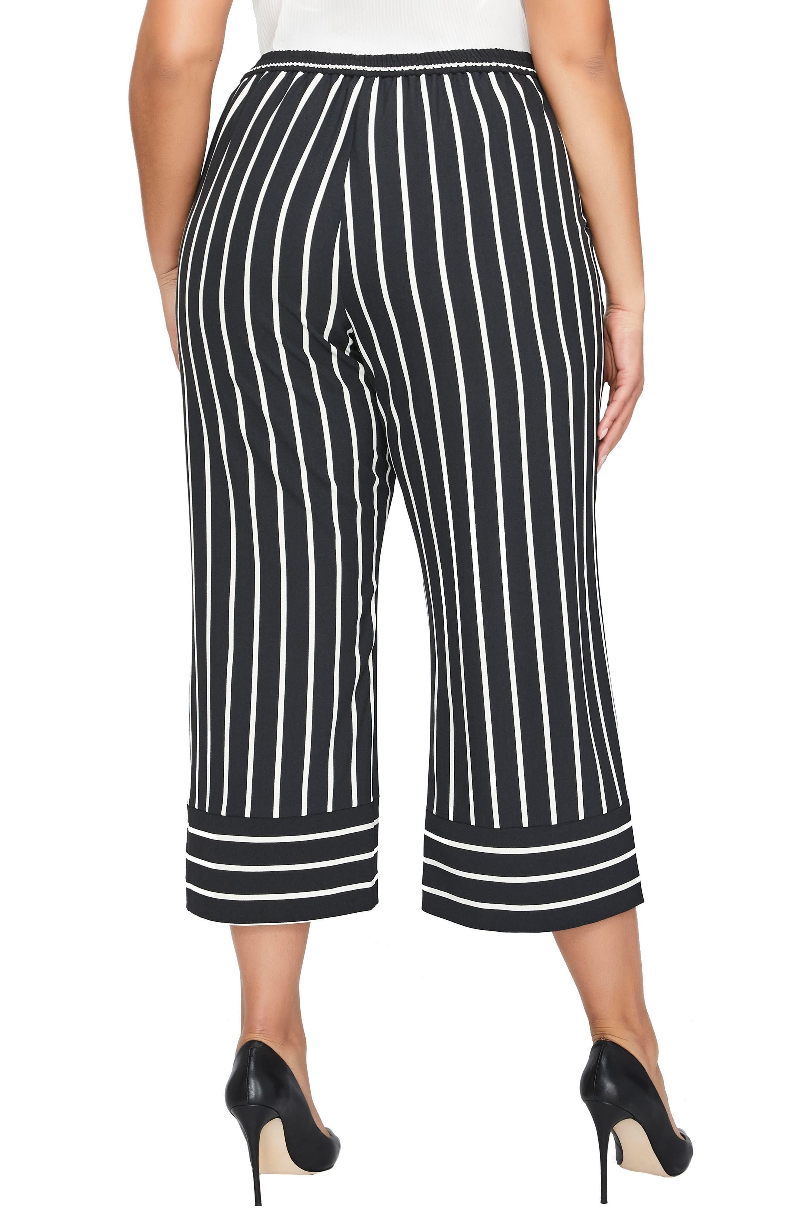 Stripe Wide Leg Crop Pants,                             Alternate thumbnail 3, color,                             Blanc De Blanc / Black Stripe