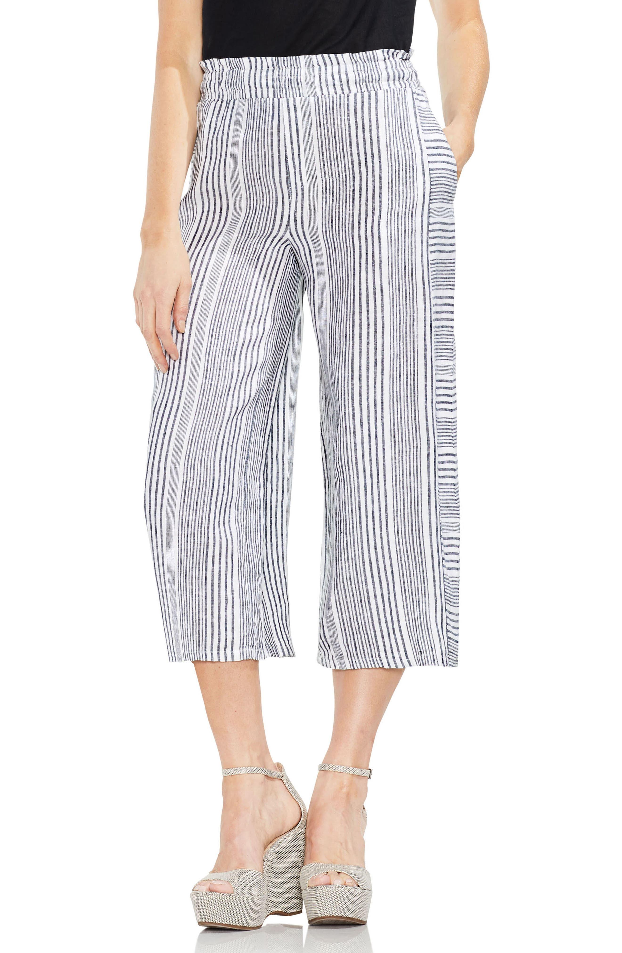 Variegated Stripe Linen Crop Pants,                             Main thumbnail 1, color,                             Rich Black