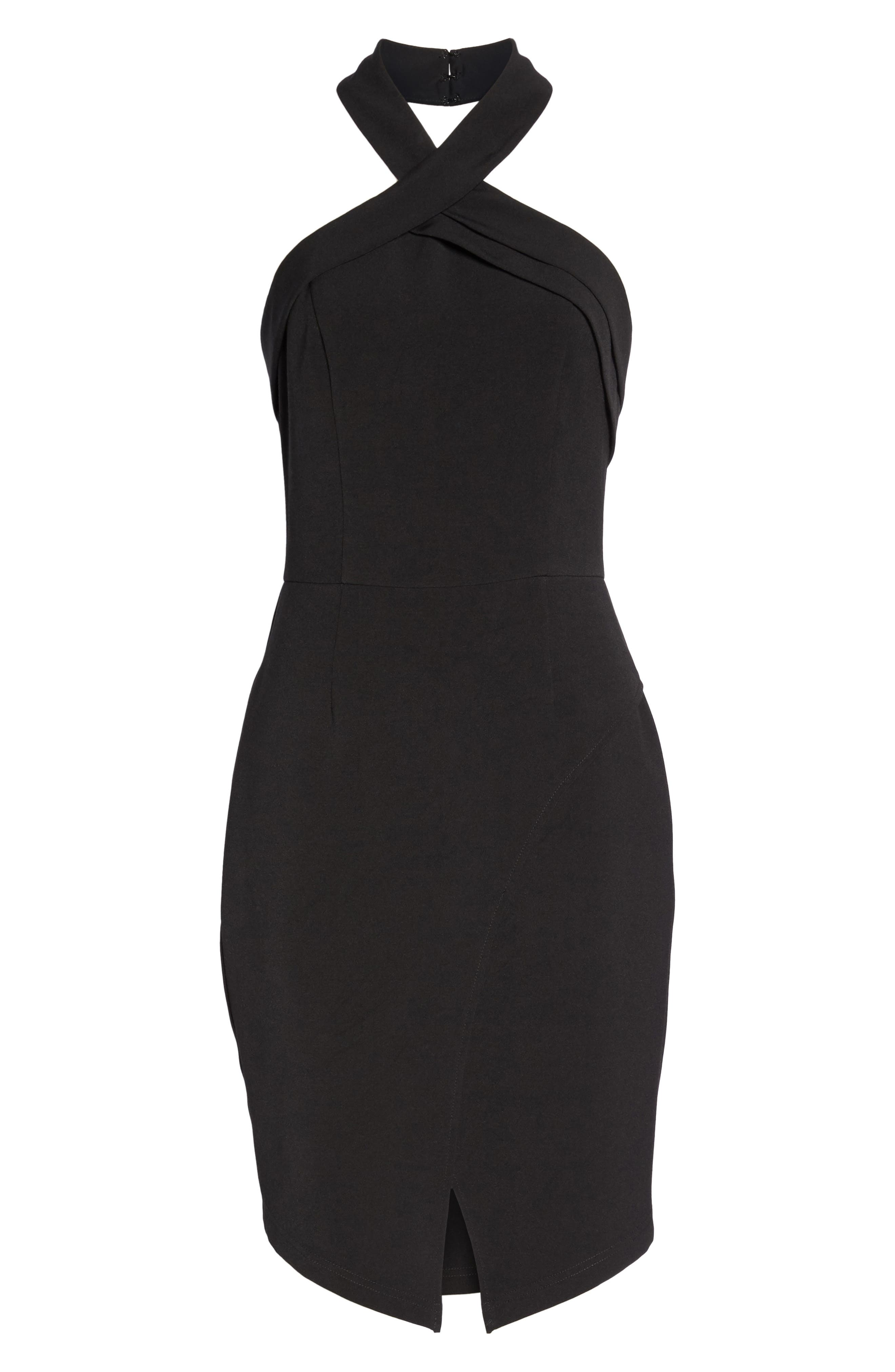 Halter Asymmetrical Sheath Dress,                             Alternate thumbnail 7, color,                             Black