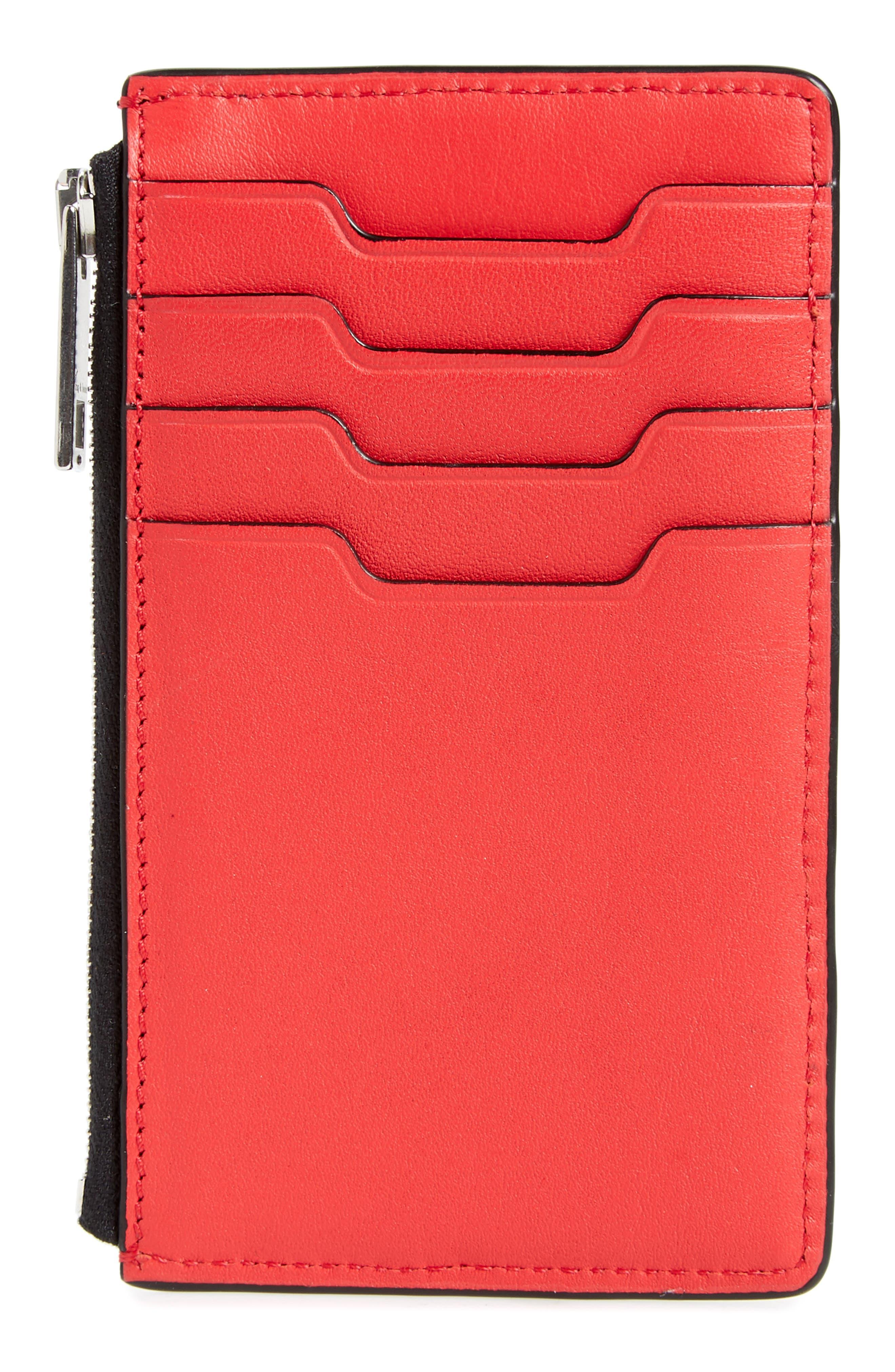 stars leather card case,                             Alternate thumbnail 2, color,                             Star Multi