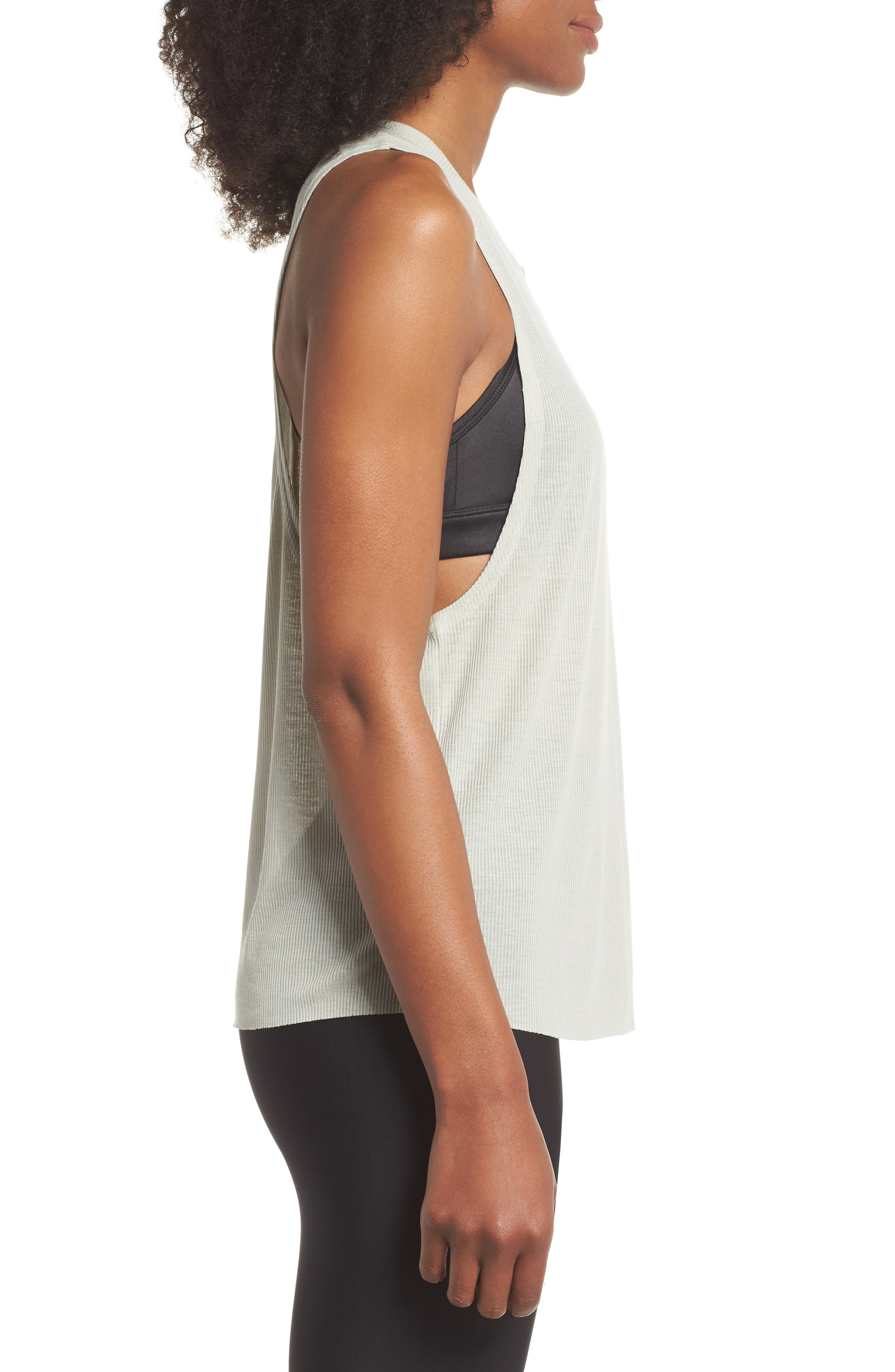Heat Wave Ribbed Muscle Tee,                             Alternate thumbnail 3, color,                             Pistachio