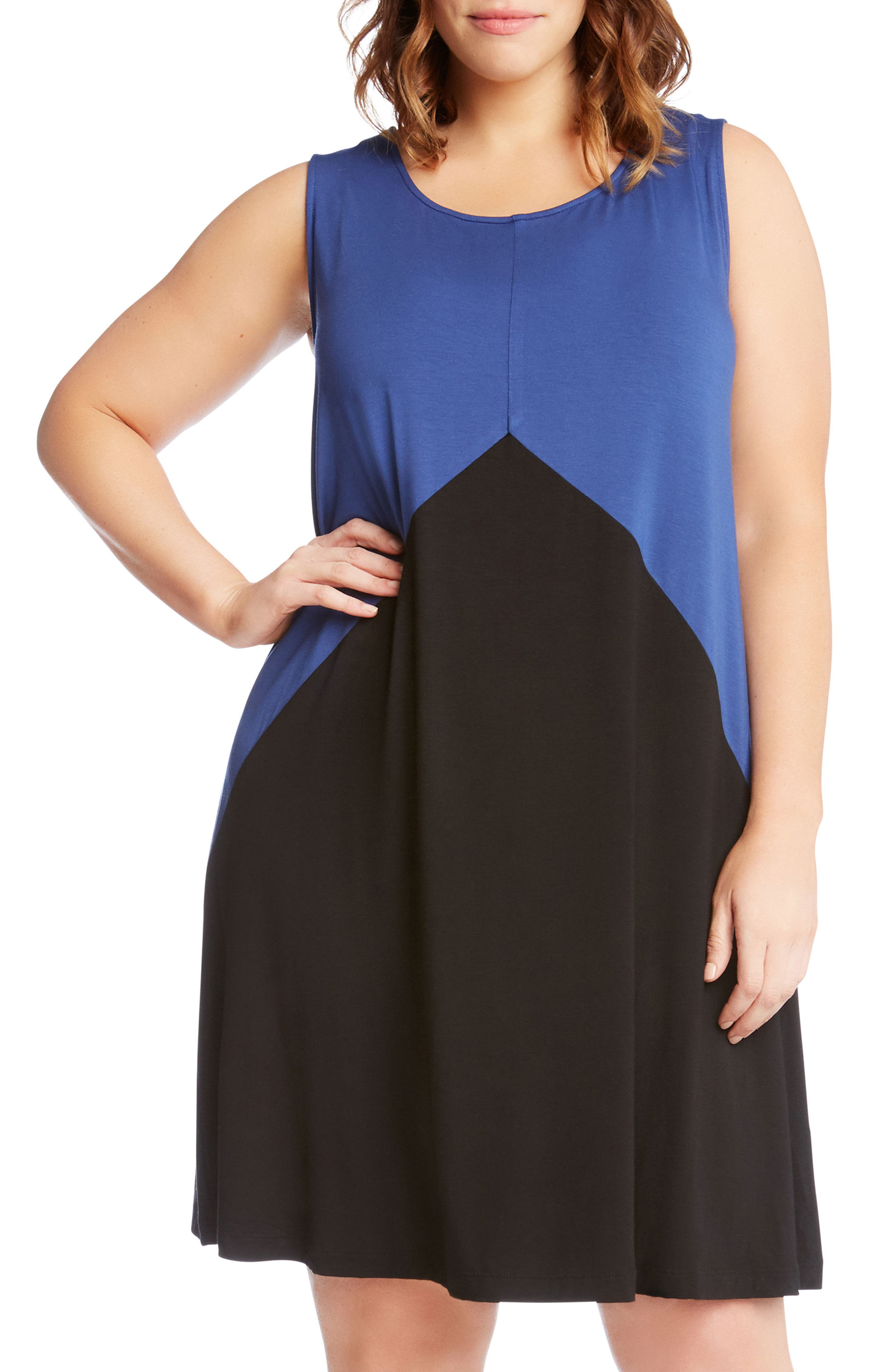Colorblock Shift Dress,                             Alternate thumbnail 3, color,                             Blue With Black