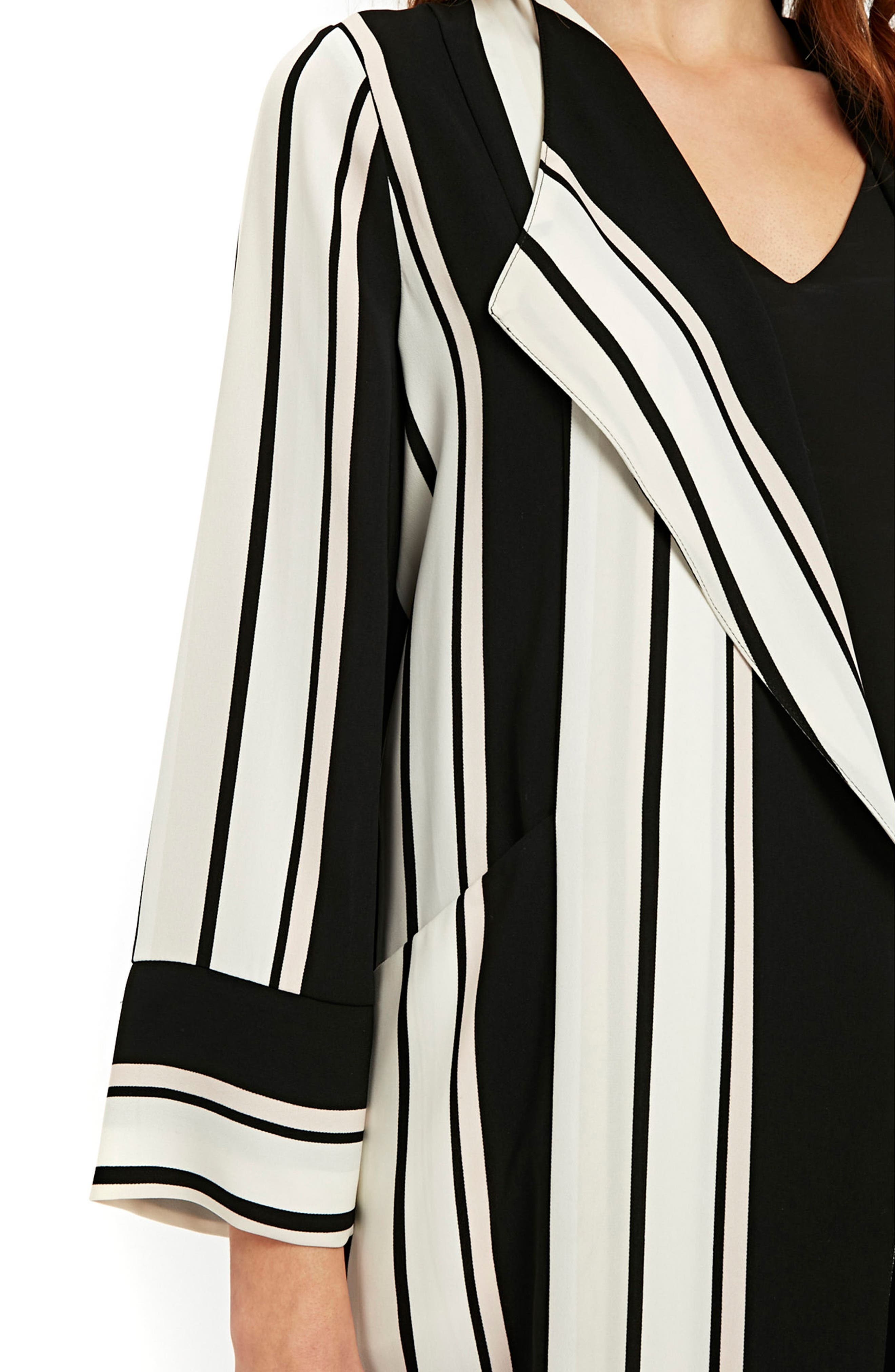 Cut About Stella Stripe Duster Coat,                             Alternate thumbnail 3, color,                             Black