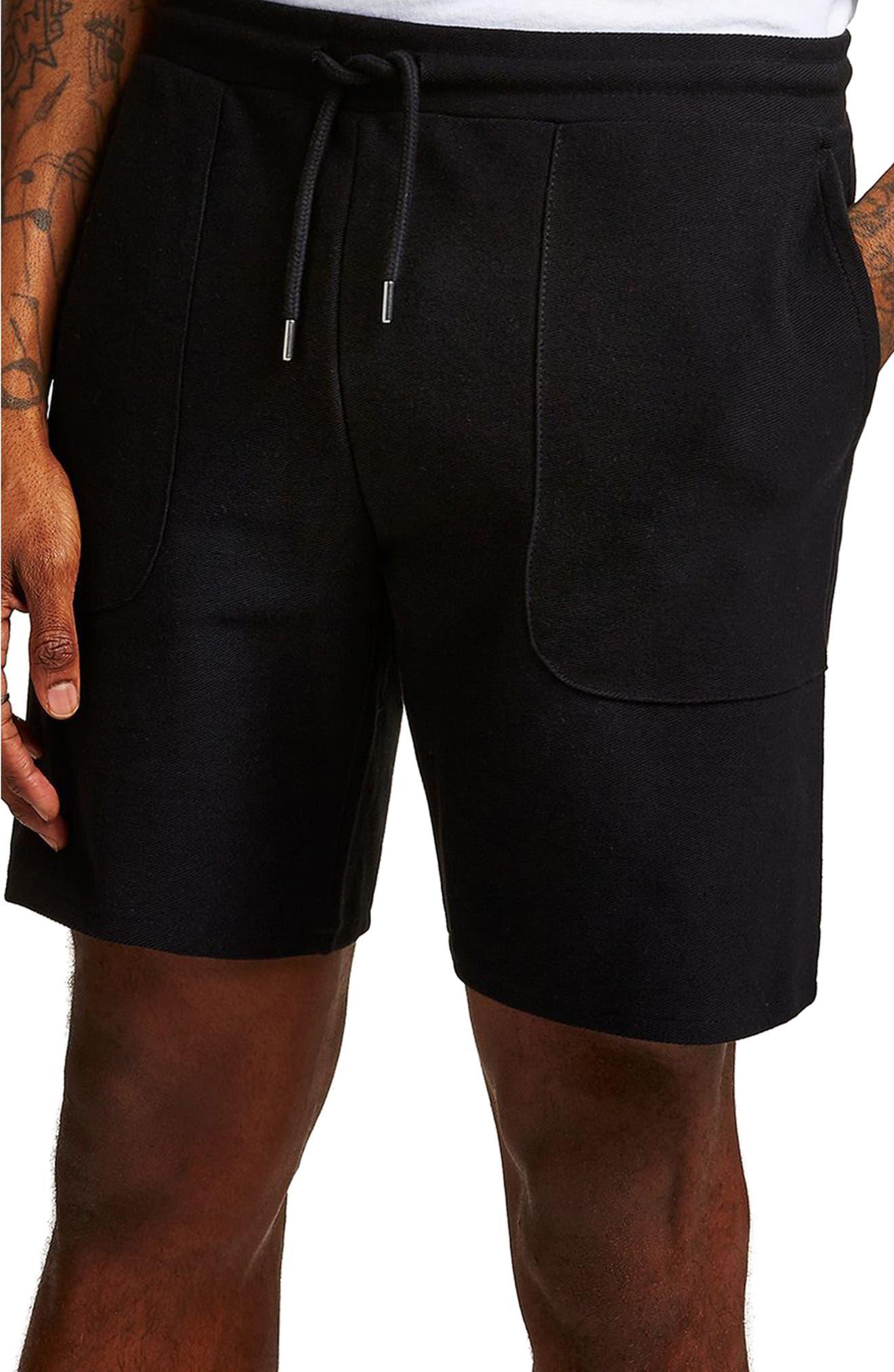 Slim Fit Twill Jersey Shorts,                             Alternate thumbnail 3, color,                             Black