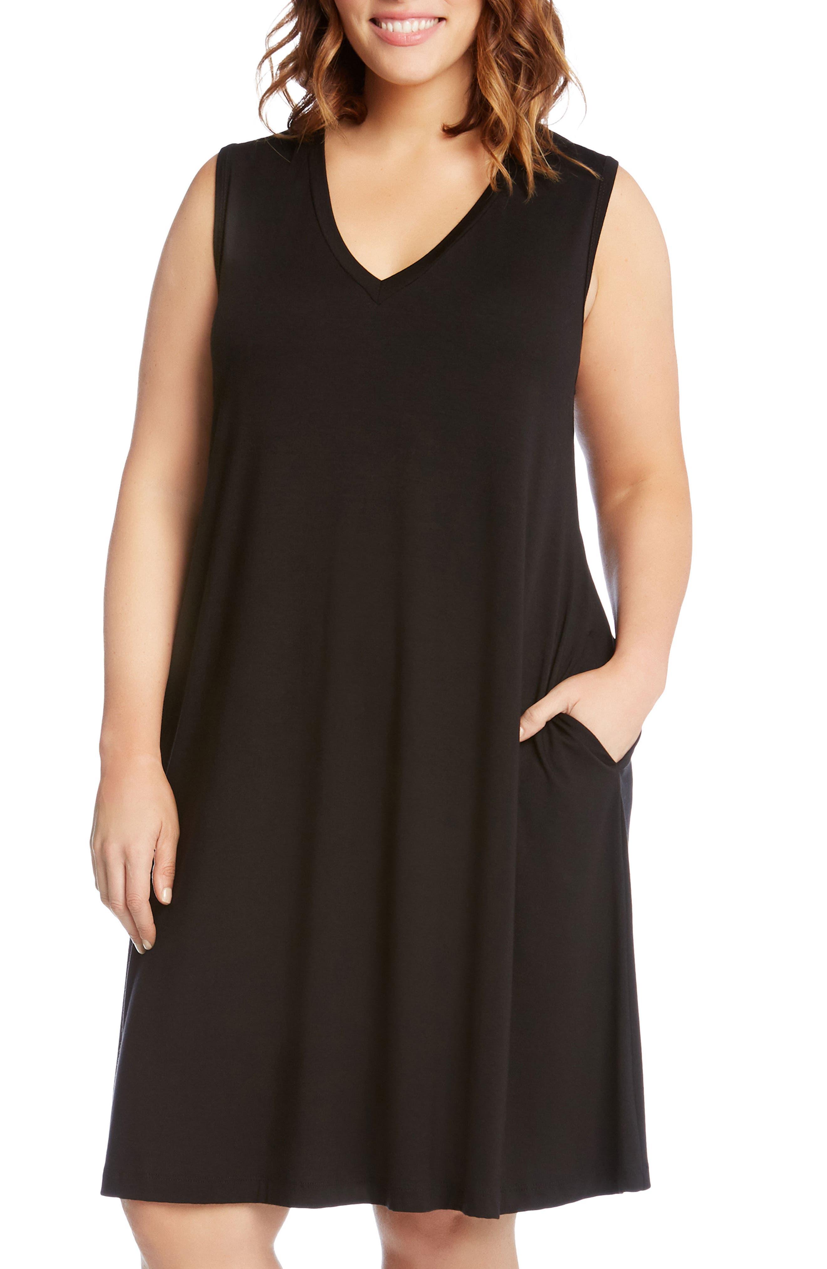 Sleeveless Pocket Jersey Dress,                             Alternate thumbnail 2, color,                             Black