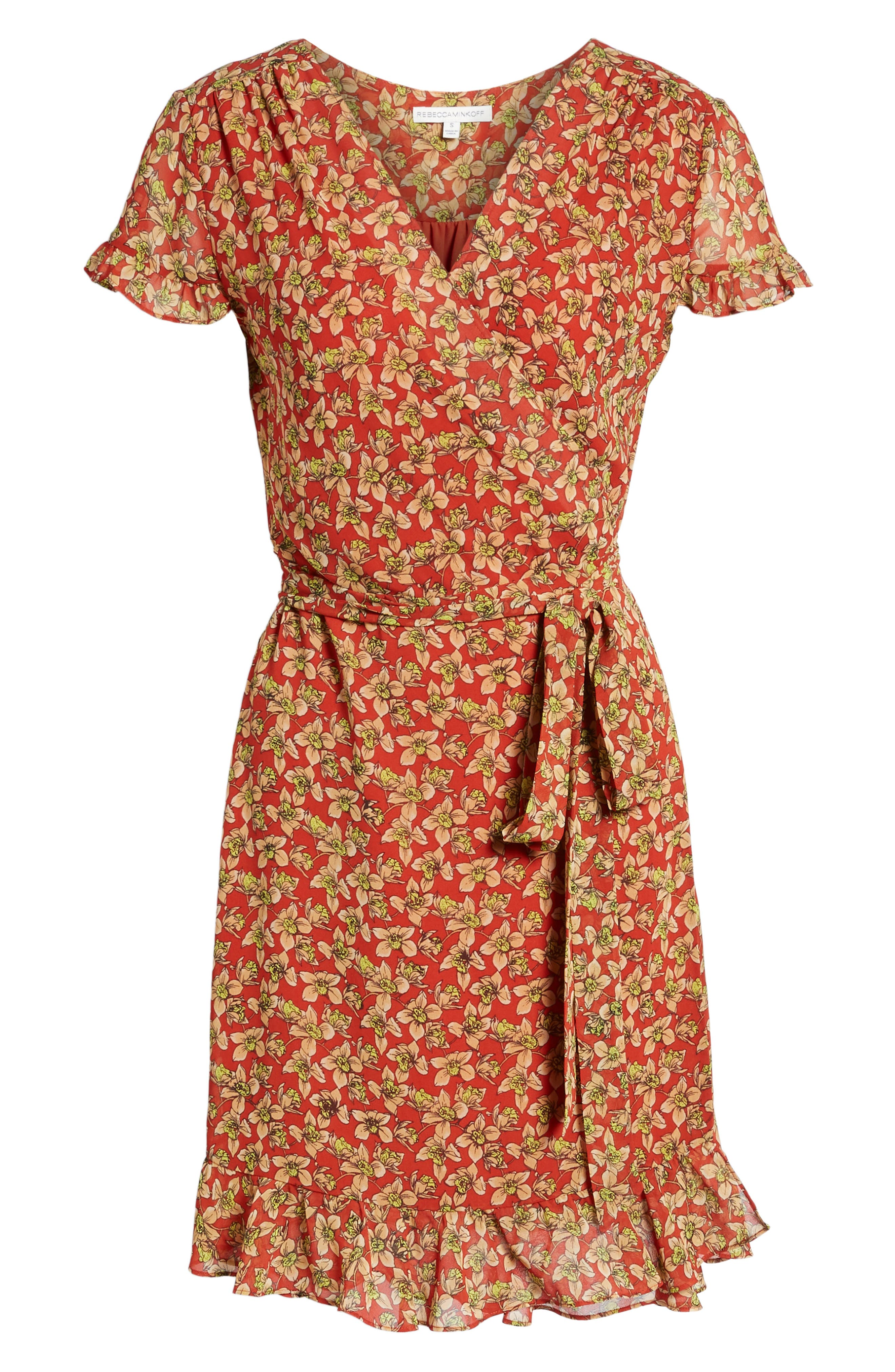 Ana Floral Wrap Dress,                             Alternate thumbnail 6, color,                             Red Multi