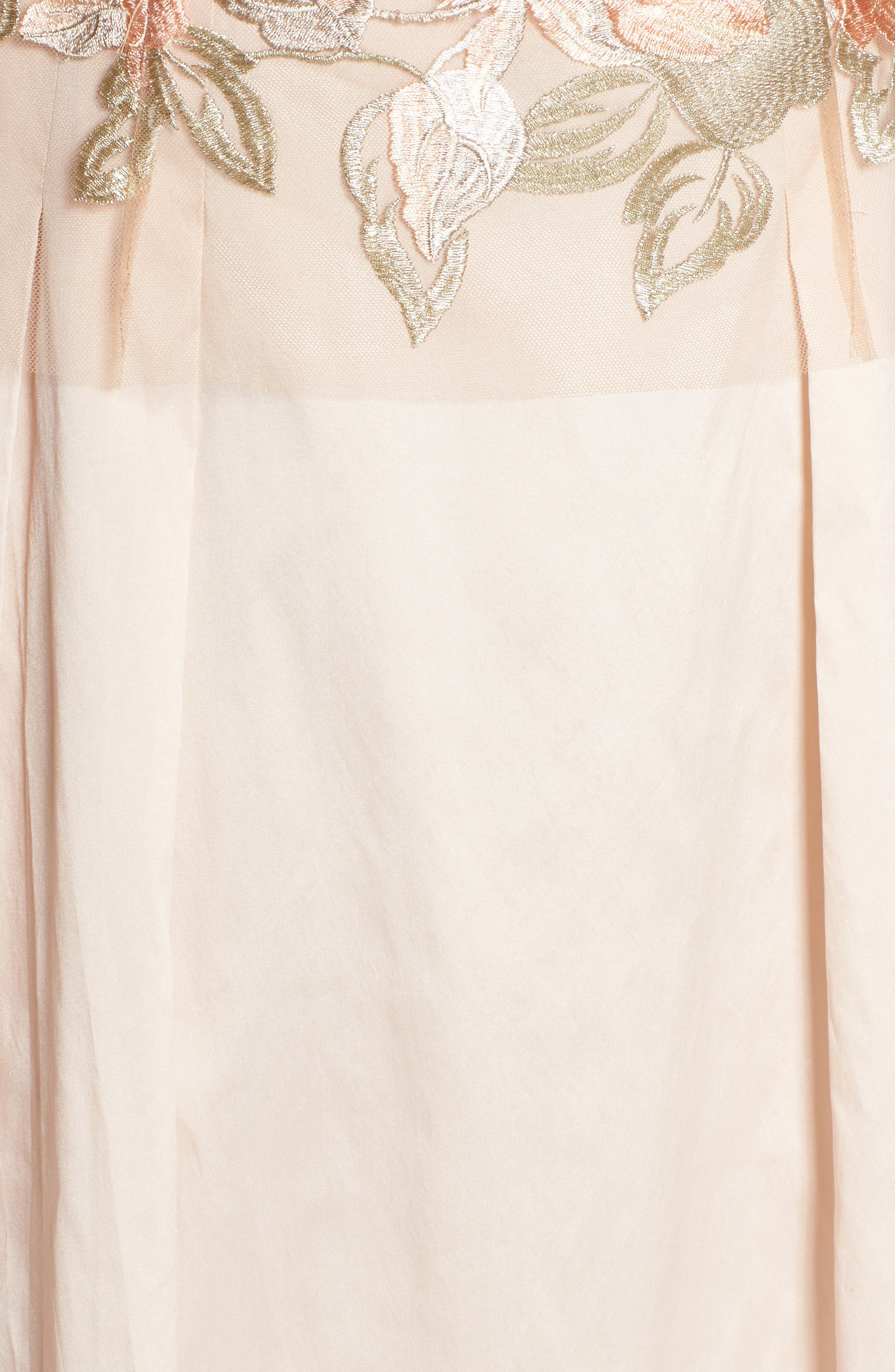 Floral Embroidered Gown,                             Alternate thumbnail 5, color,                             Pale Peach Multi