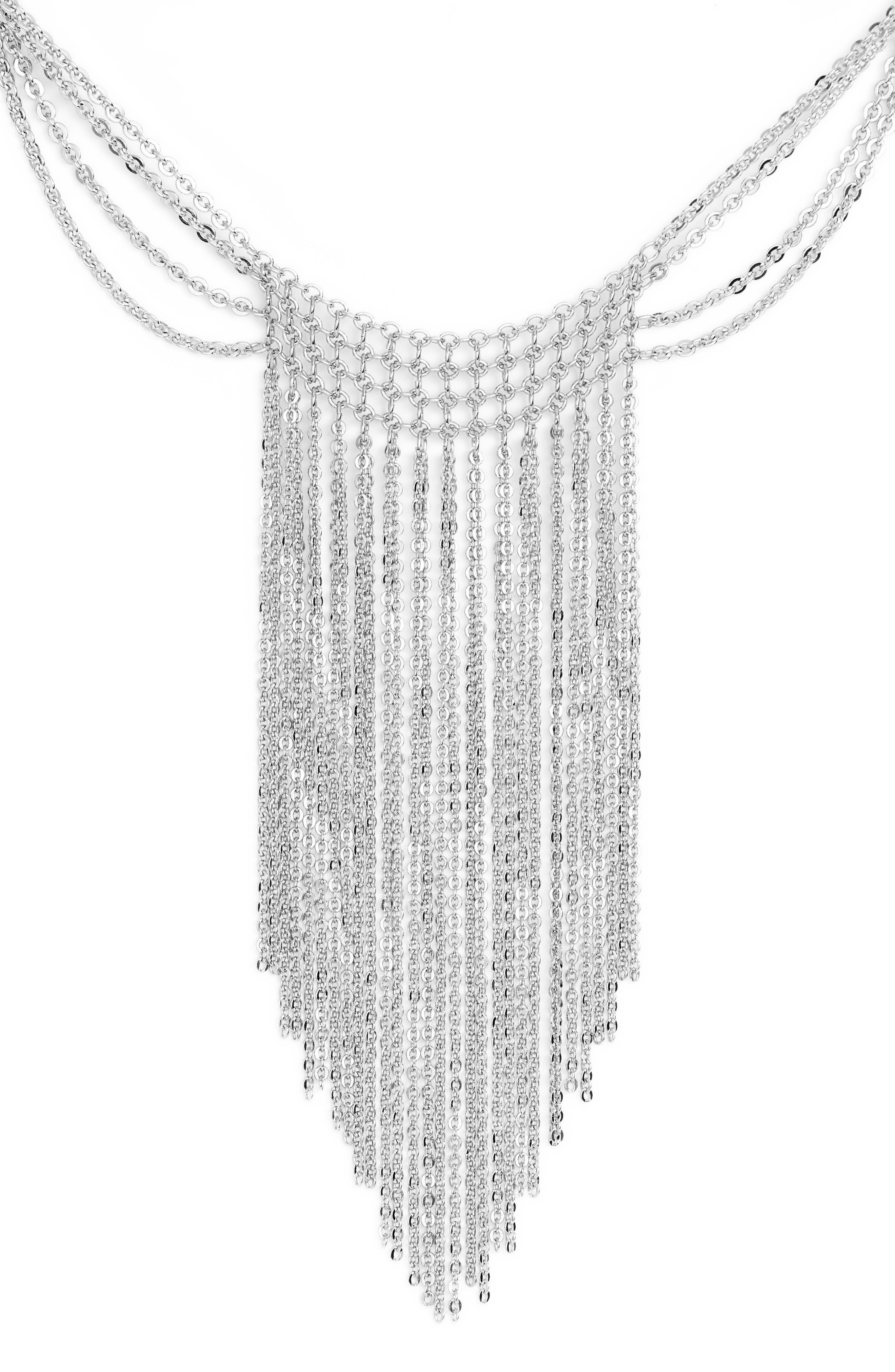 Waterfall Mesh Necklace,                             Alternate thumbnail 2, color,                             Rhodium