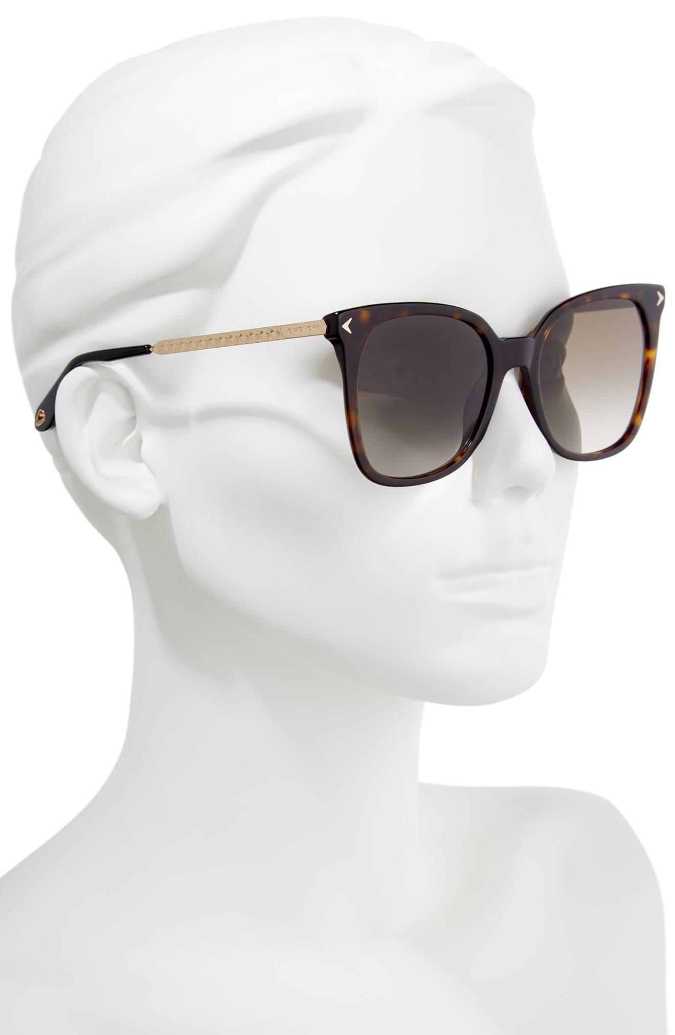 54mm Square Sunglasses,                             Alternate thumbnail 2, color,                             Dark Havana