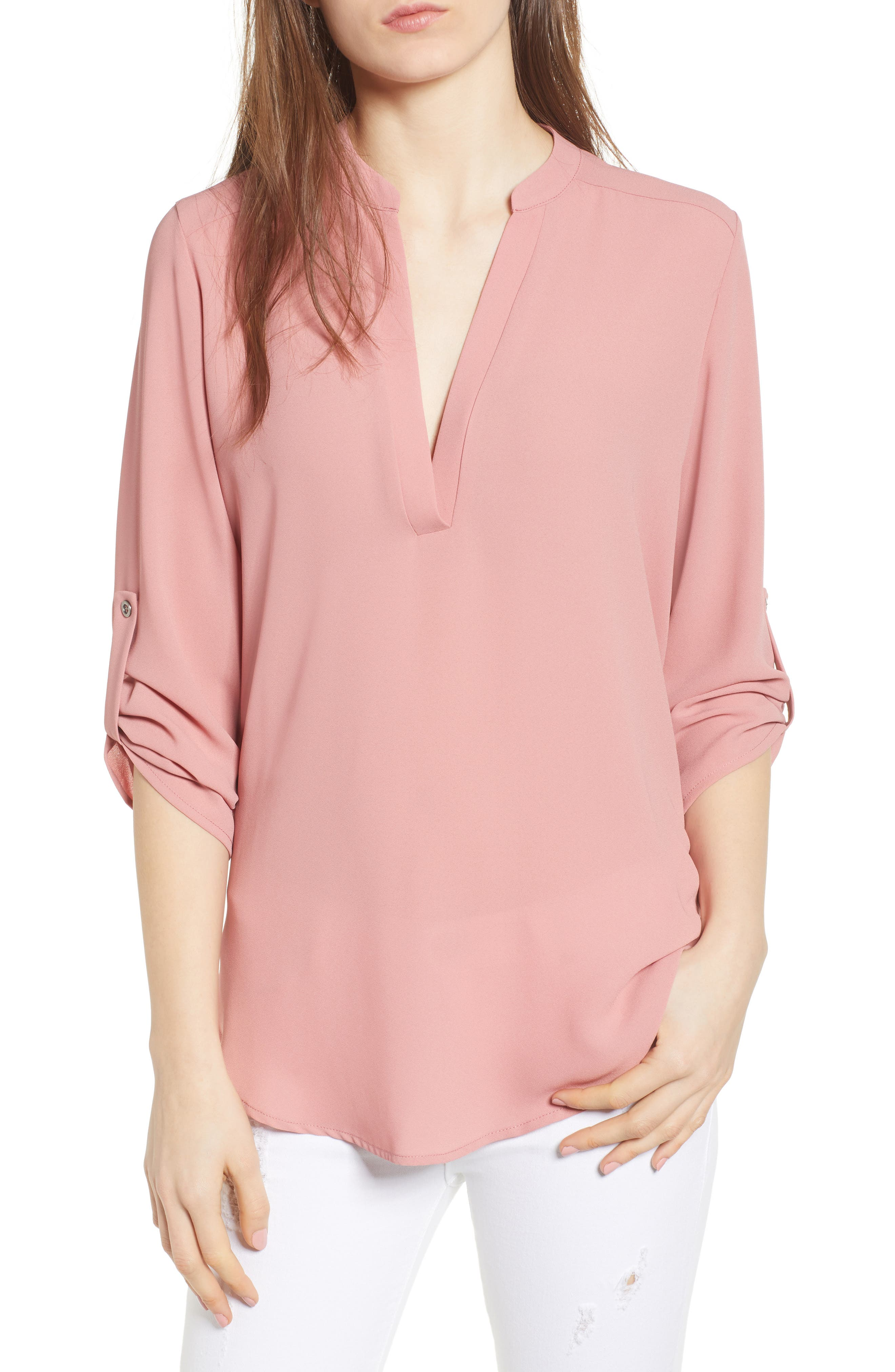 Roll Tab Sleeve Woven Shirt,                         Main,                         color, Dusty Rose