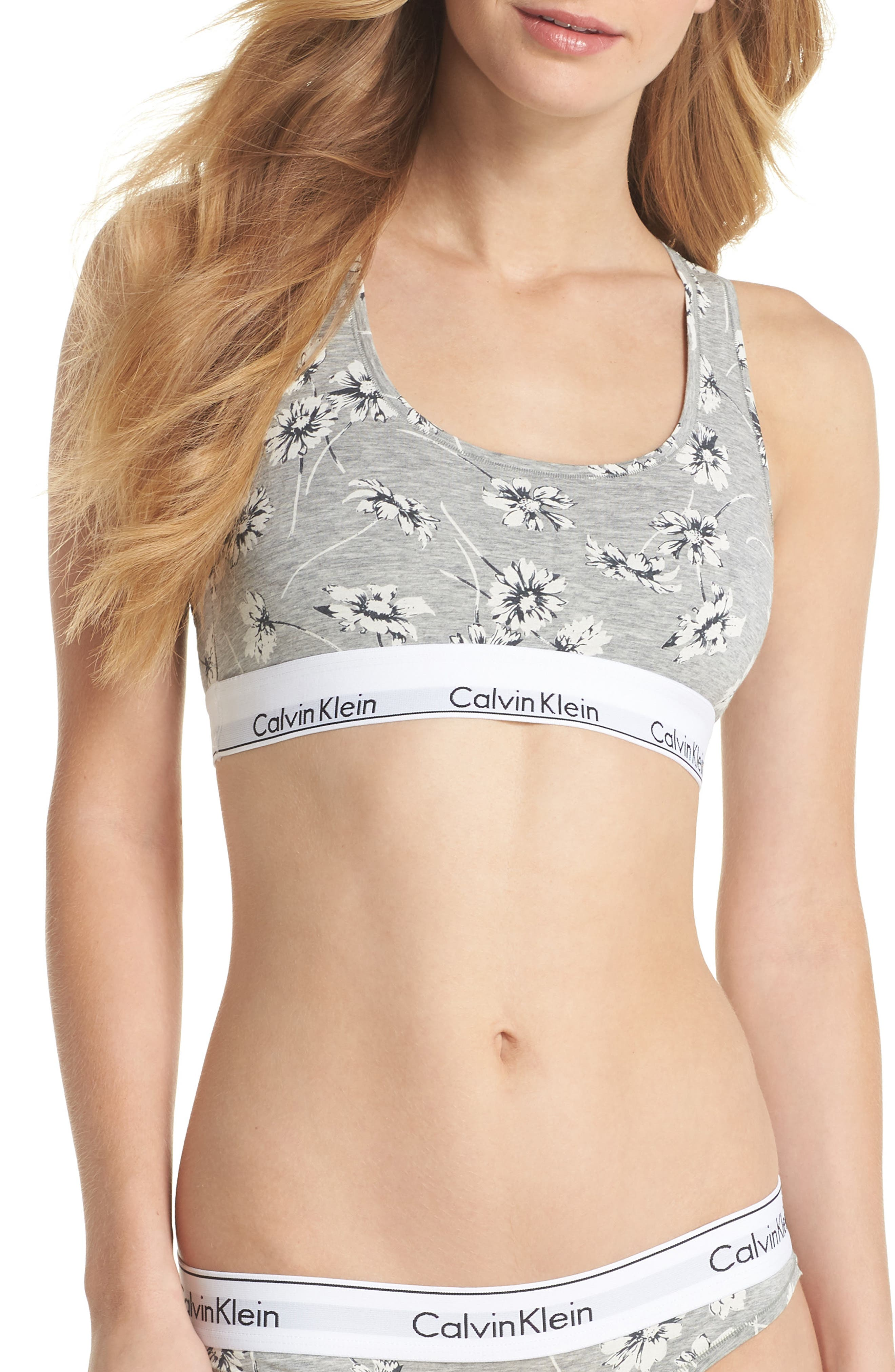 Modern Cotton Collection Cotton Blend Racerback Bralette,                         Main,                         color, Scattered Posy Grey Htr