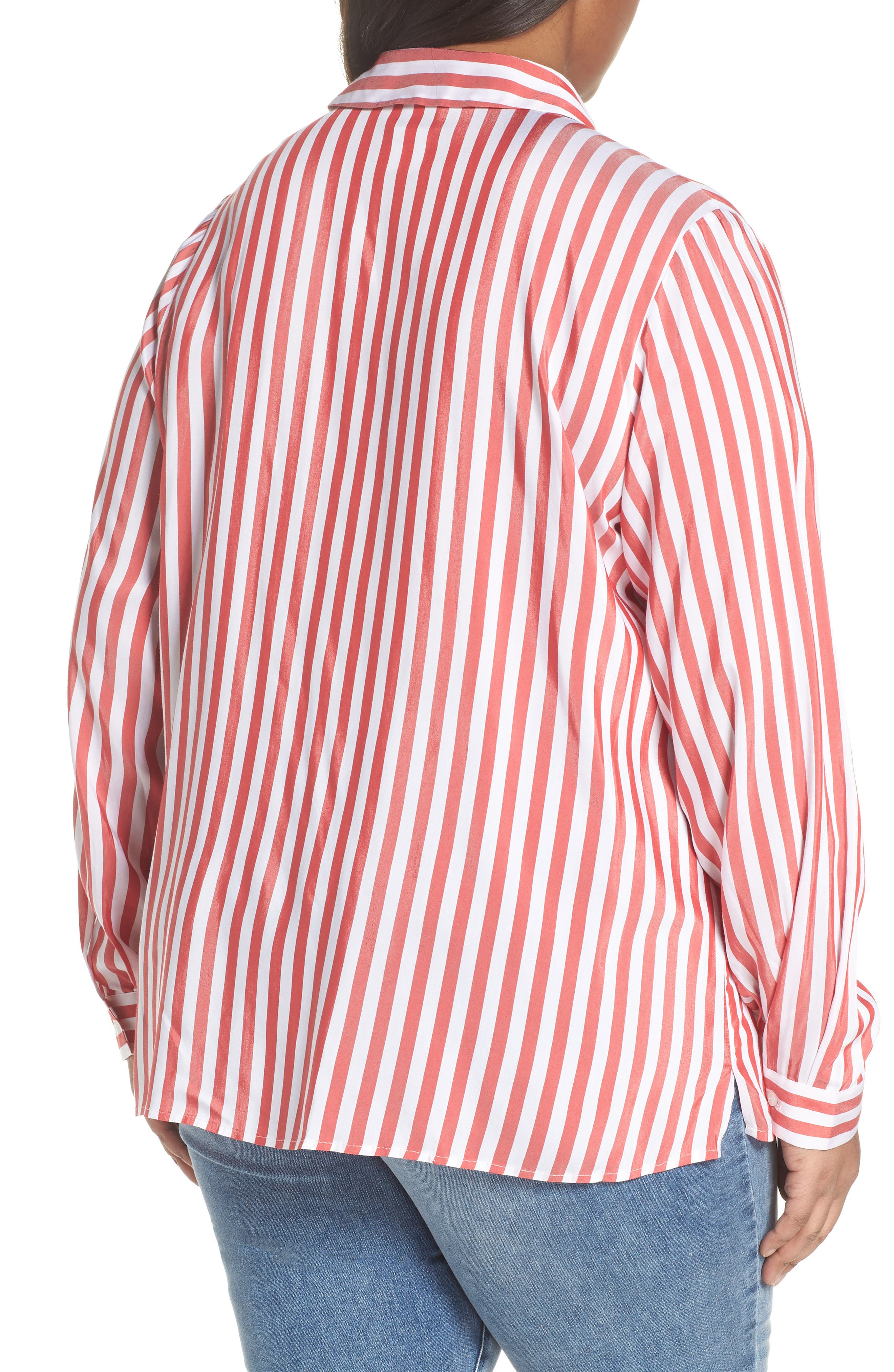 Stripe Blouse,                             Alternate thumbnail 2, color,                             Red/ White Stripe