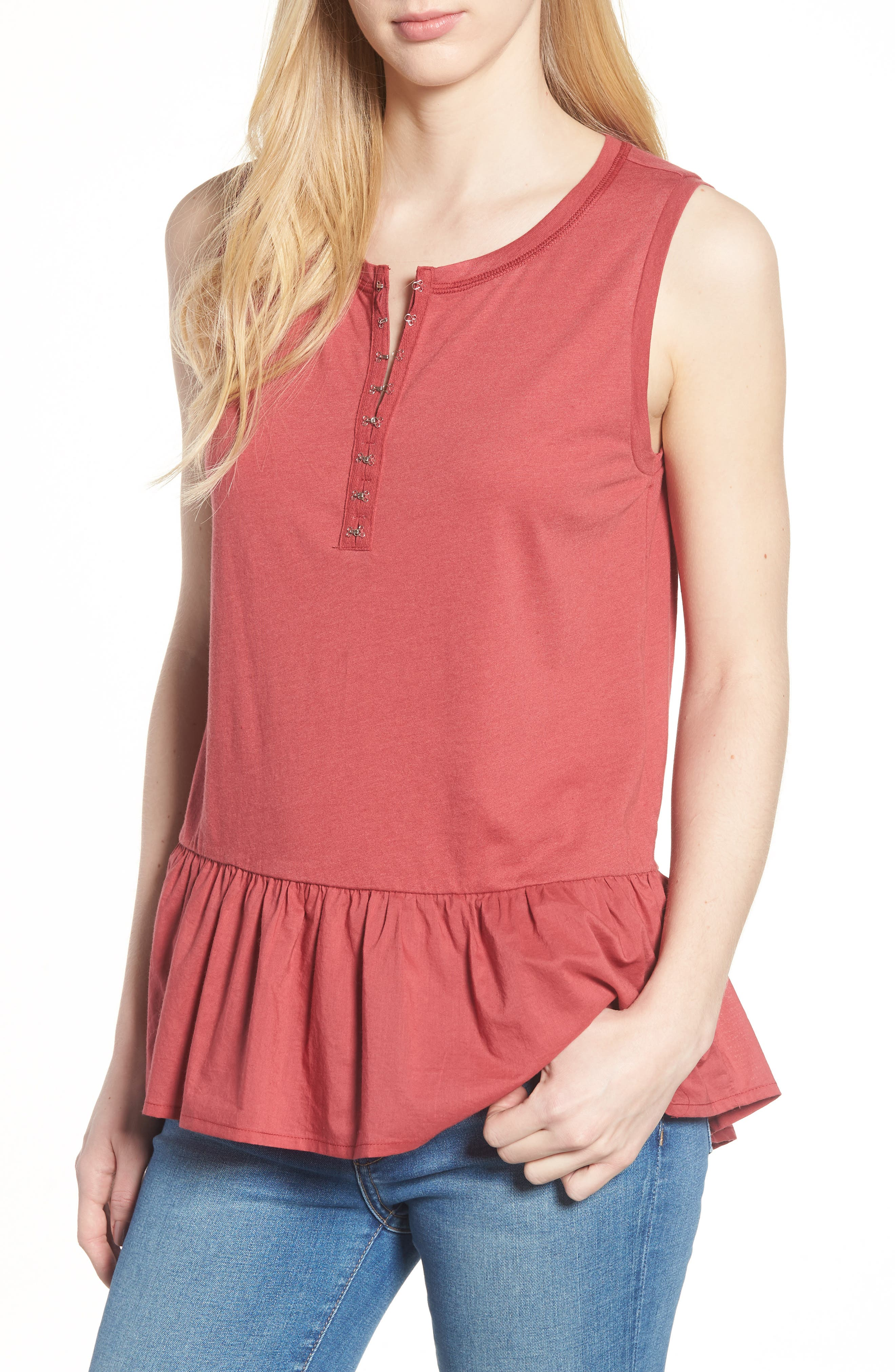 Mix Media Cotton Blend Peplum Top,                             Main thumbnail 1, color,                             Red Earth