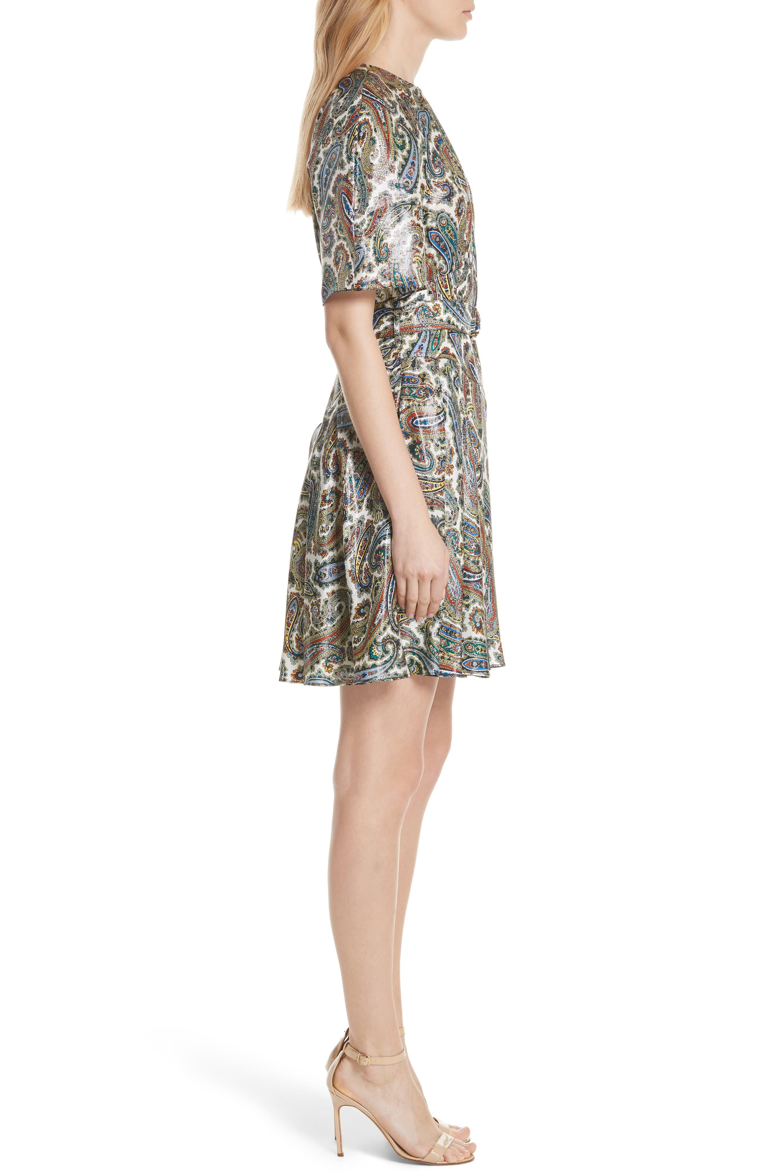 Belted Silk Blend Dress,                             Alternate thumbnail 3, color,                             Barton Logo Ivory