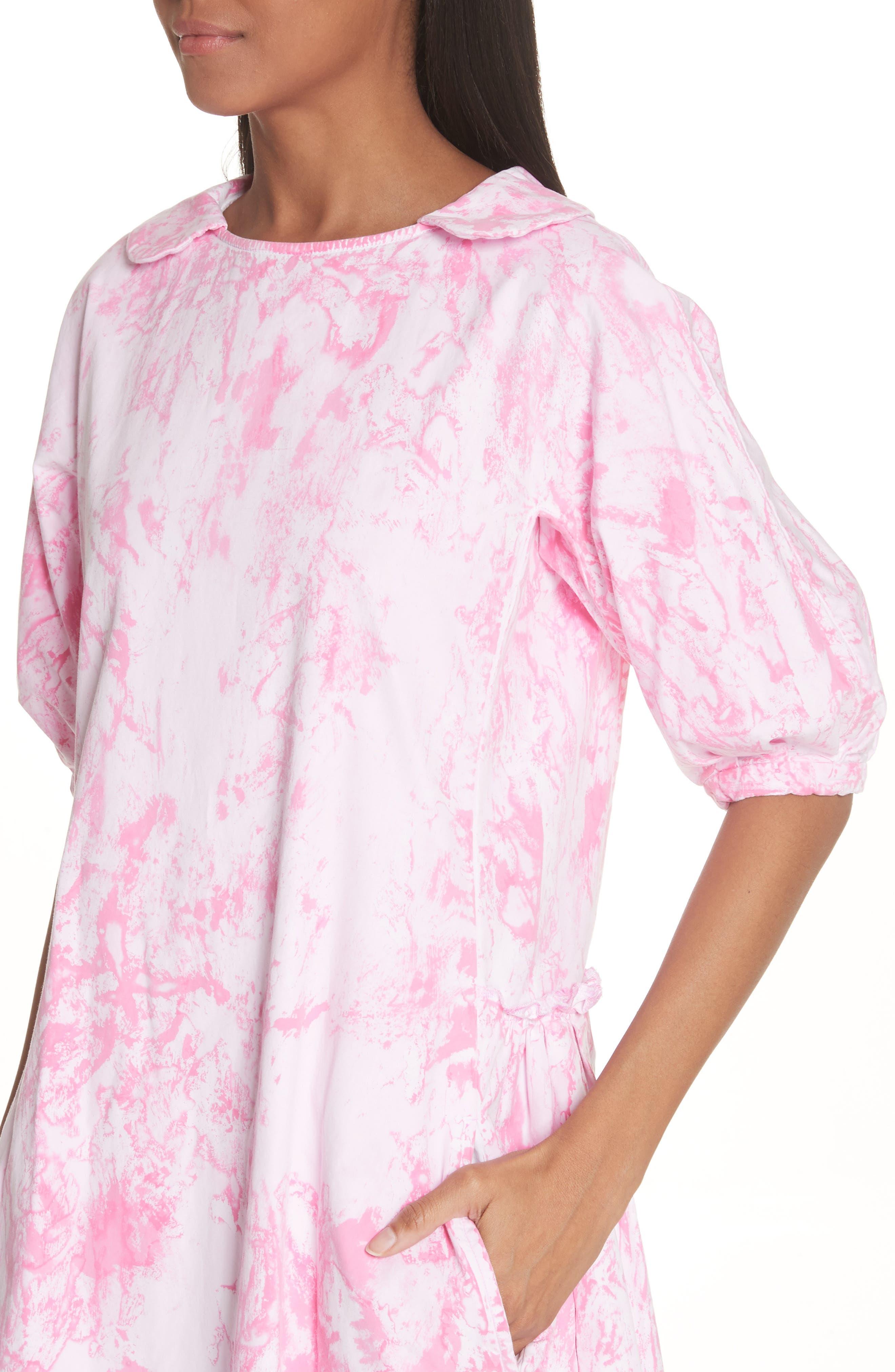 Tie Dye Midi Dress,                             Alternate thumbnail 4, color,                             Pink