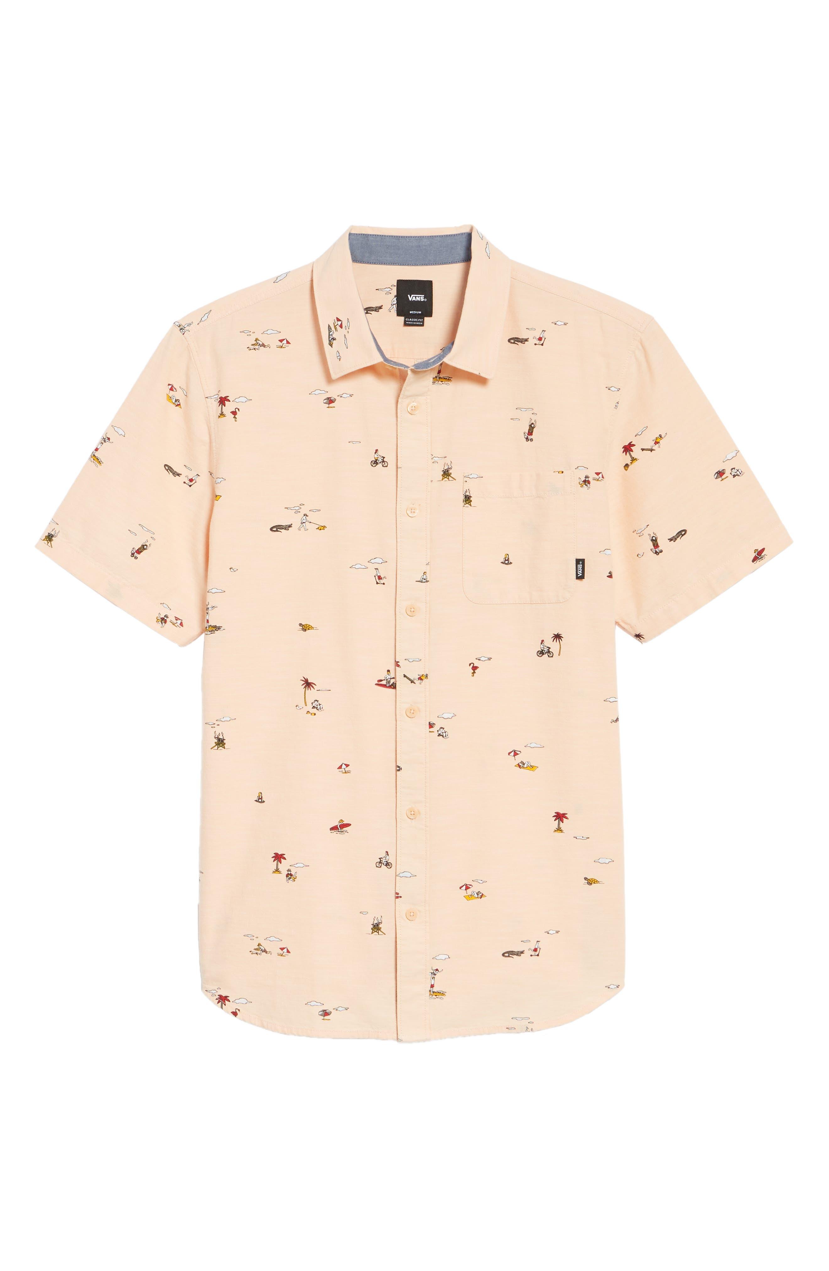 Tres Palmas Short Sleeve Shirt,                             Alternate thumbnail 6, color,                             Apricot Ice