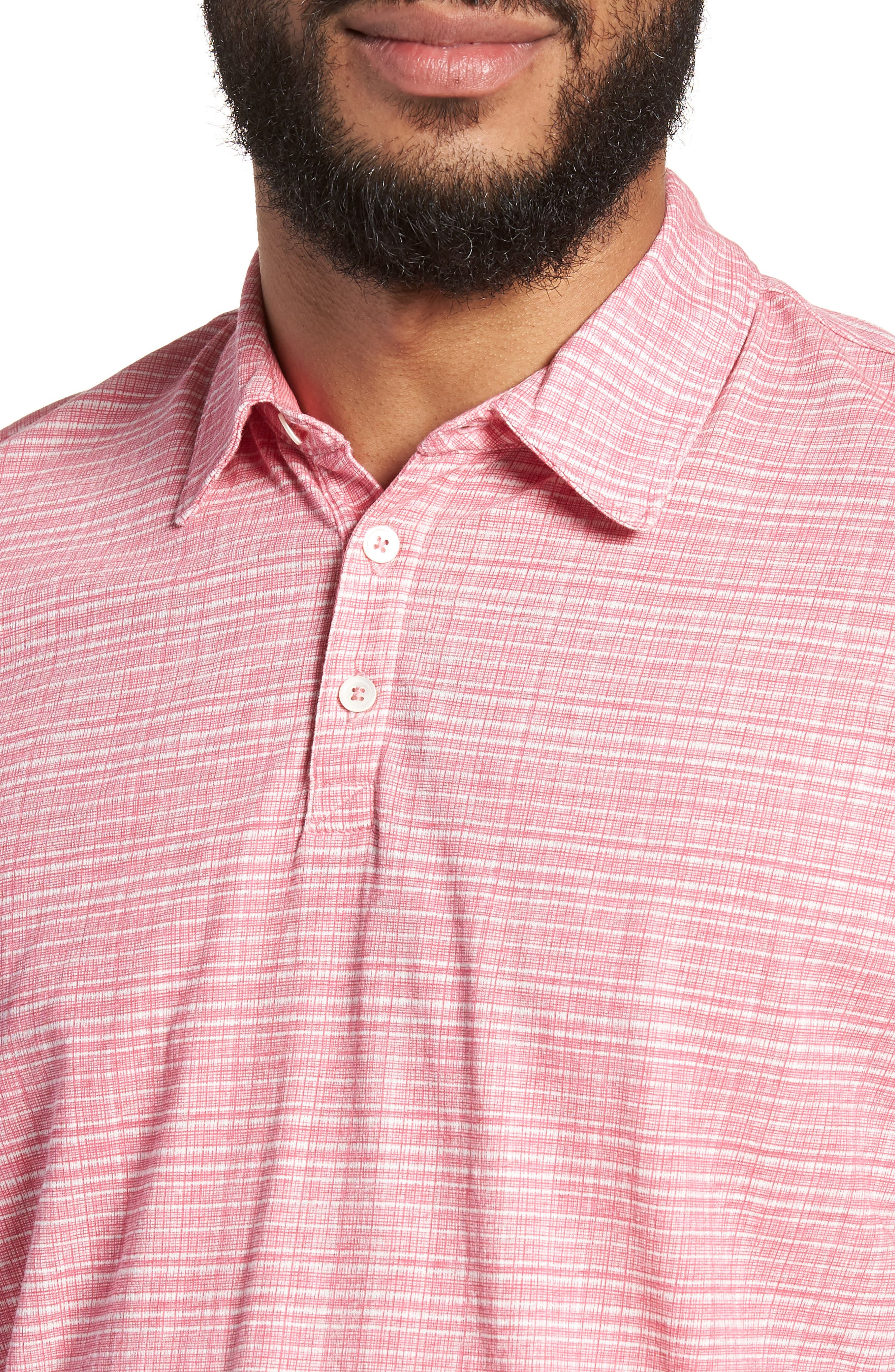 Cedar Regular Fit Grid Print Polo,                             Alternate thumbnail 4, color,                             Pink
