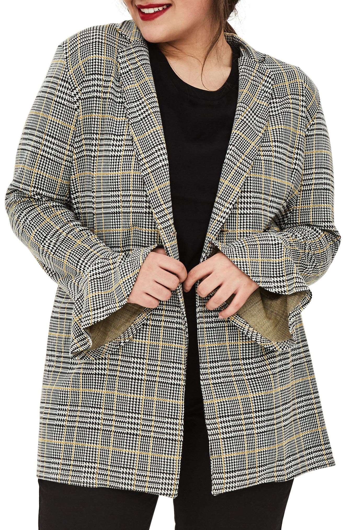 ELVI The Tove Bell Cuff Plaid Blazer (Plus Size)